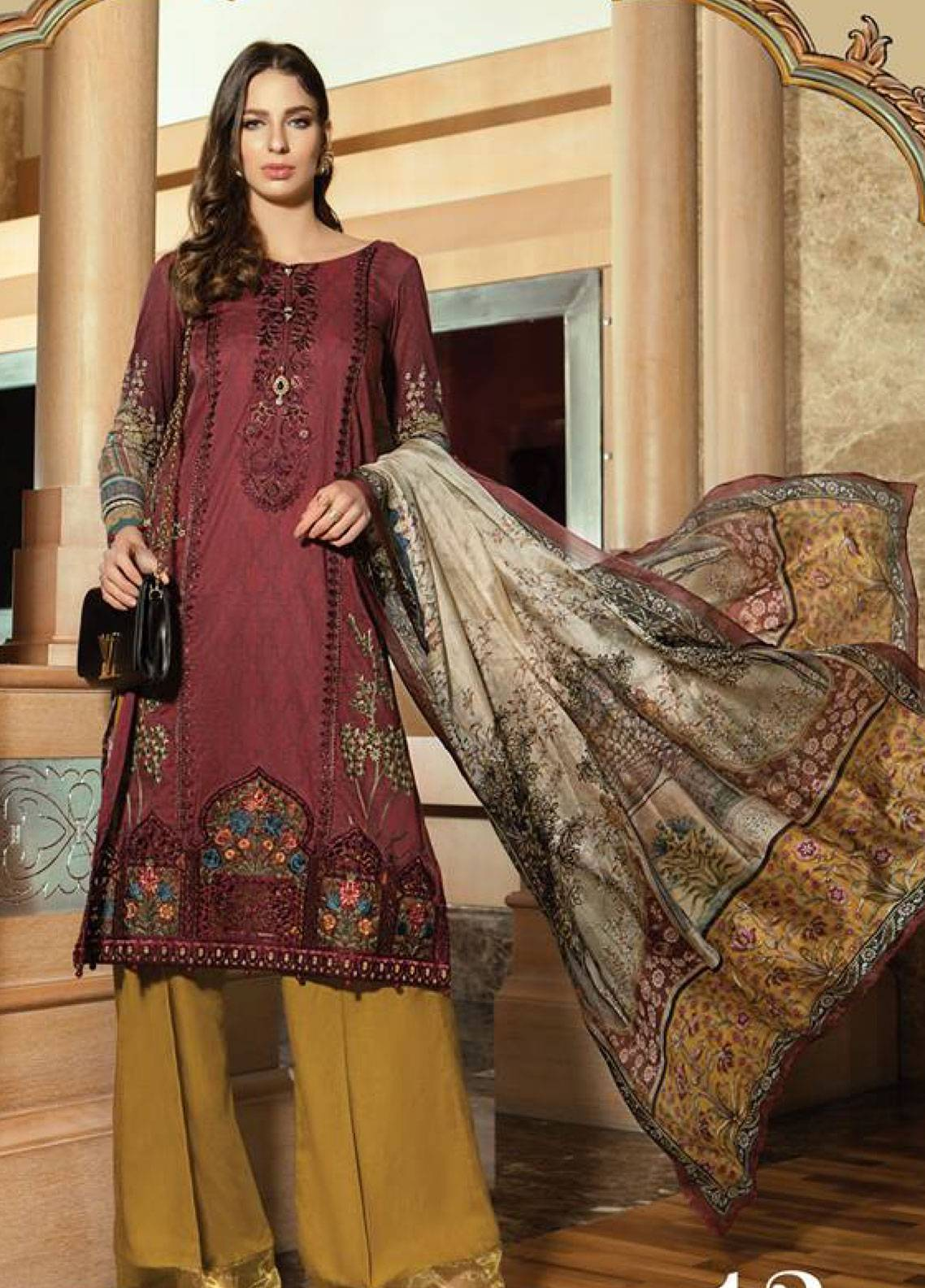 1e0cd973d1 Maria B Embroidered Lawn Unstitched 3 Piece Suit MB19L 13A - Spring ...