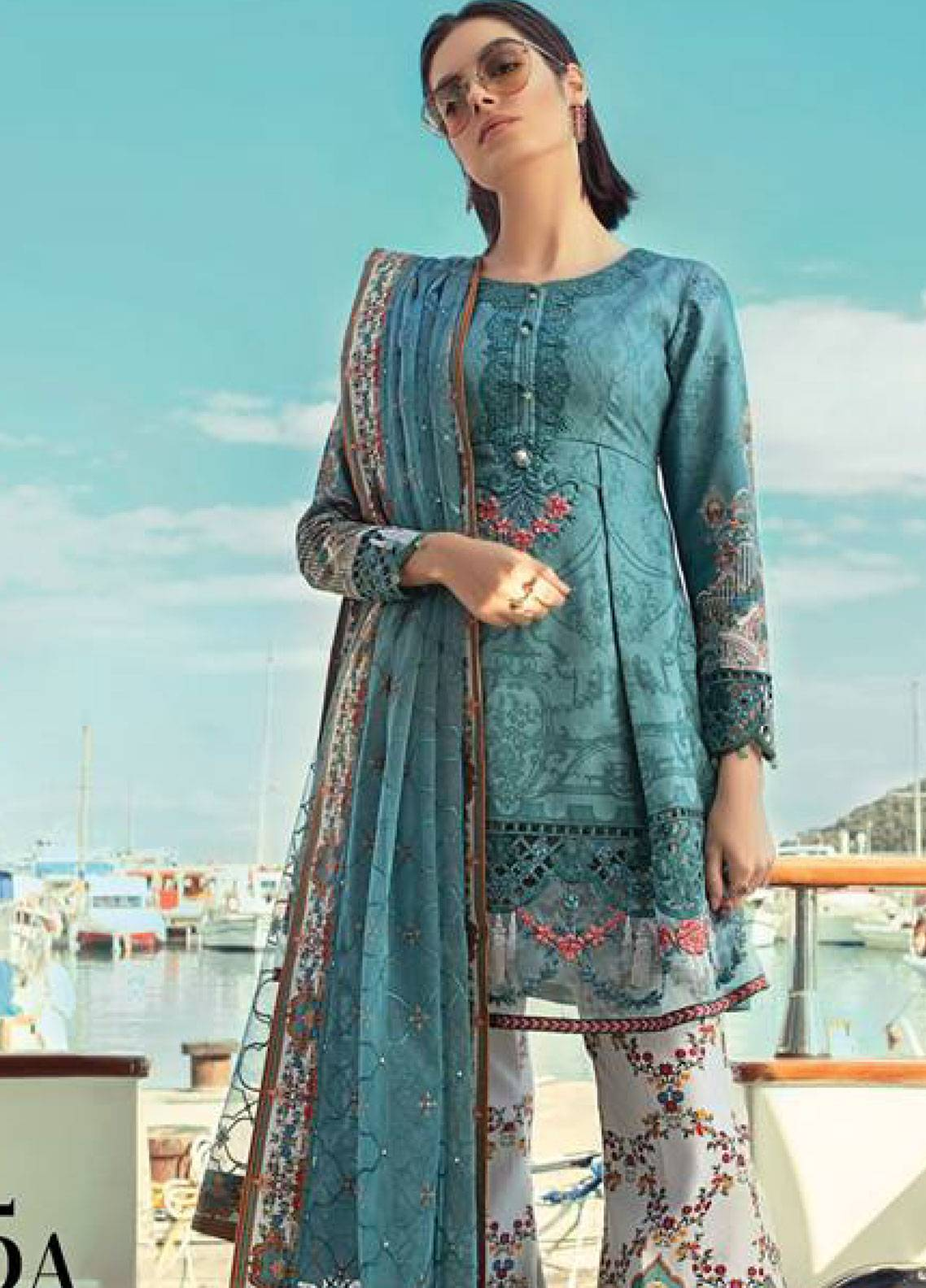 60c77e8c0b Maria B Embroidered Lawn Unstitched 3 Piece Suit MB19L 15A - Spring /  Summer Collection
