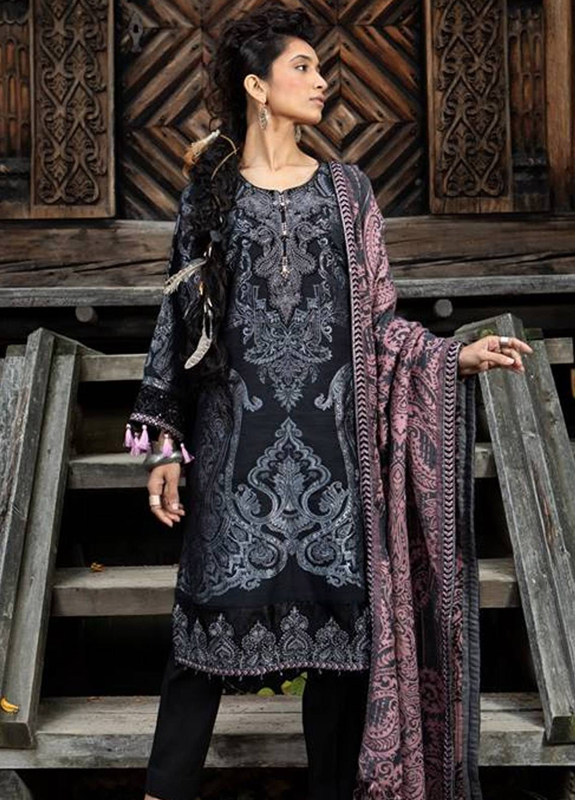 Maria B Embroidered Linen Unstitched 3 Piece Suit MB18W 01 - Fall Winter Collection