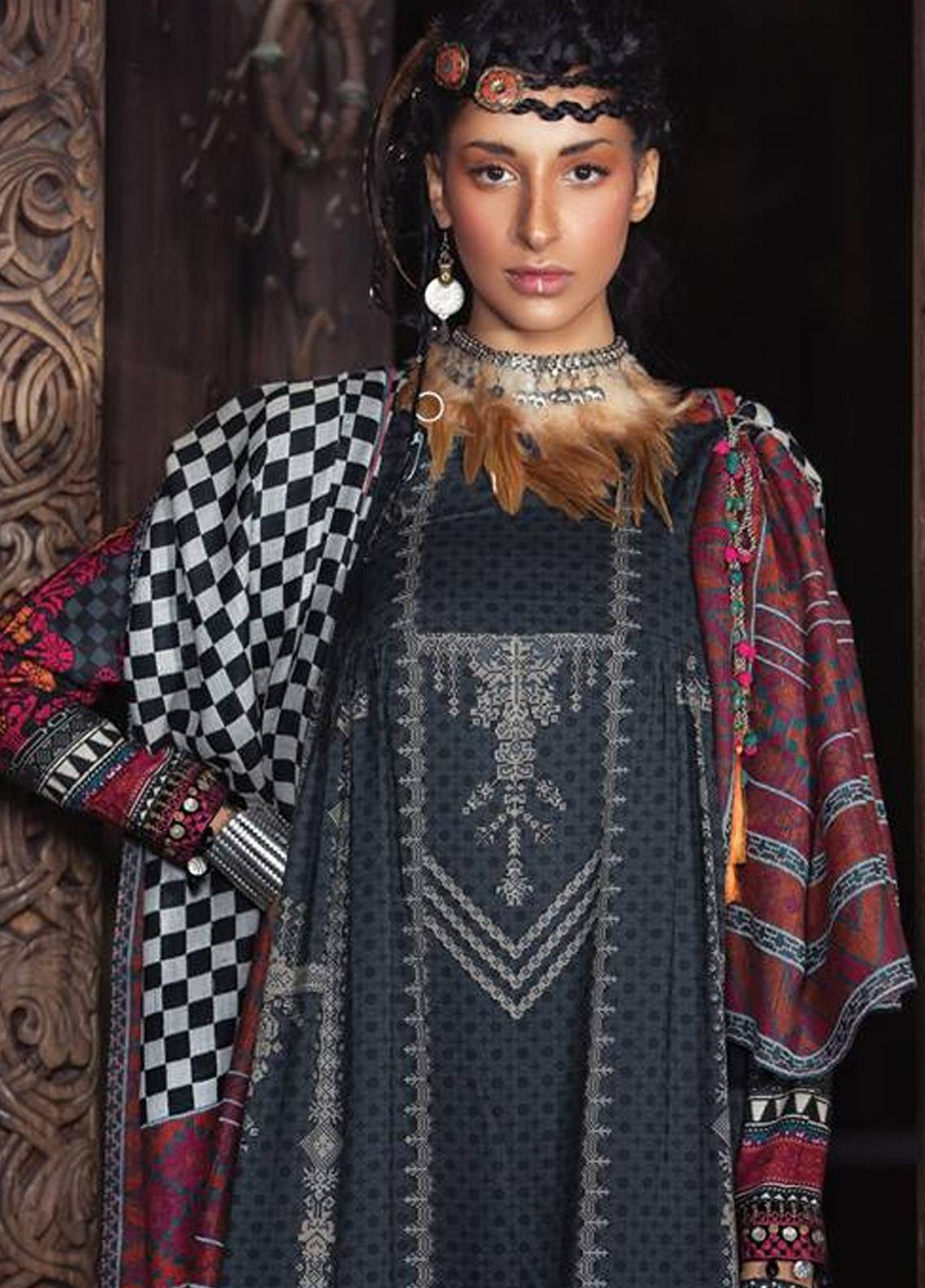 e3040791be Maria B Embroidered Linen Unstitched 3 Piece Suit MB18W 05 - Fall Winter  Collection
