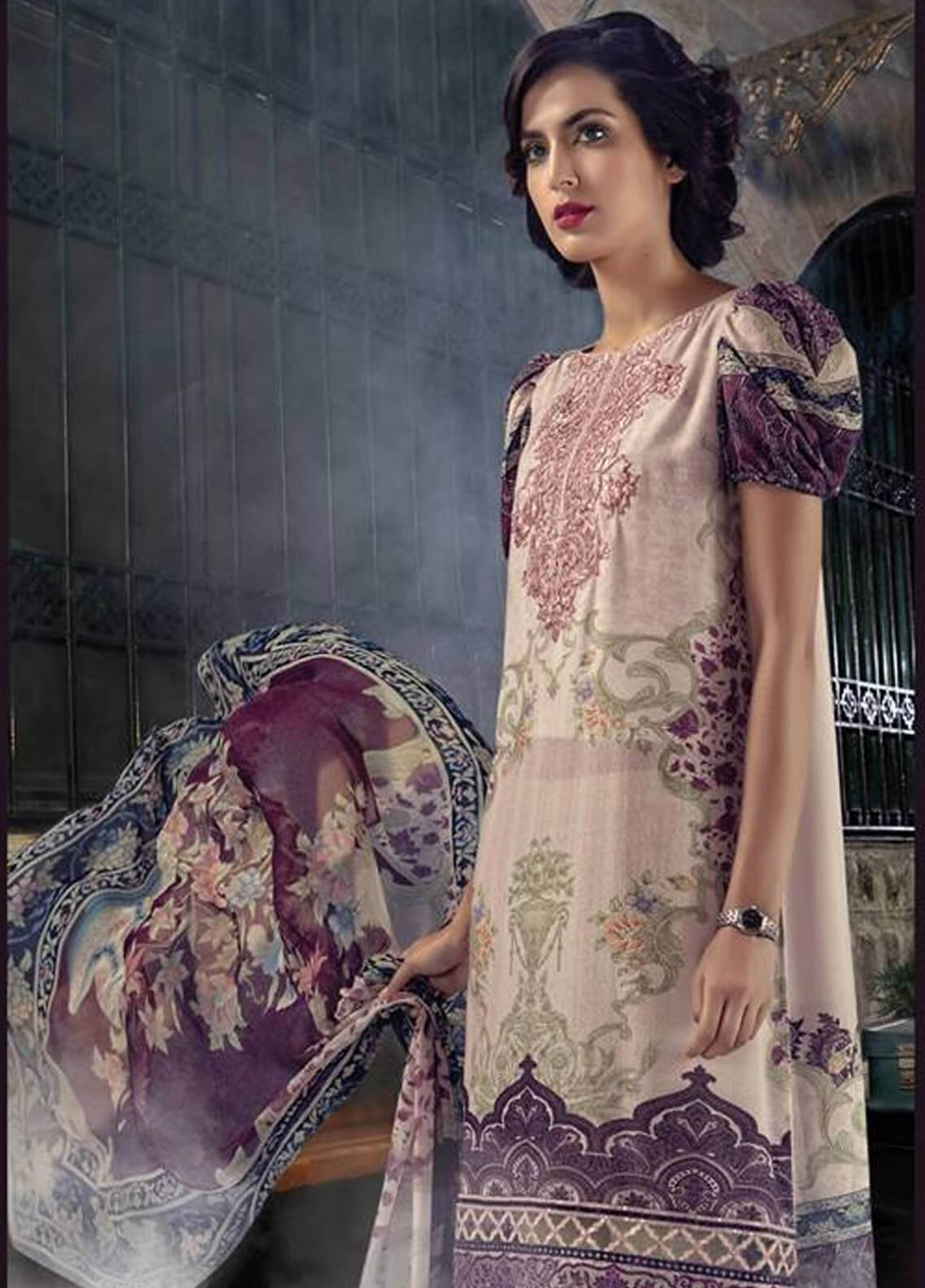 Maria B Embroidered Karandi Unstitched 3 Piece Suit MB18MP 402B - Fall Winter Collection