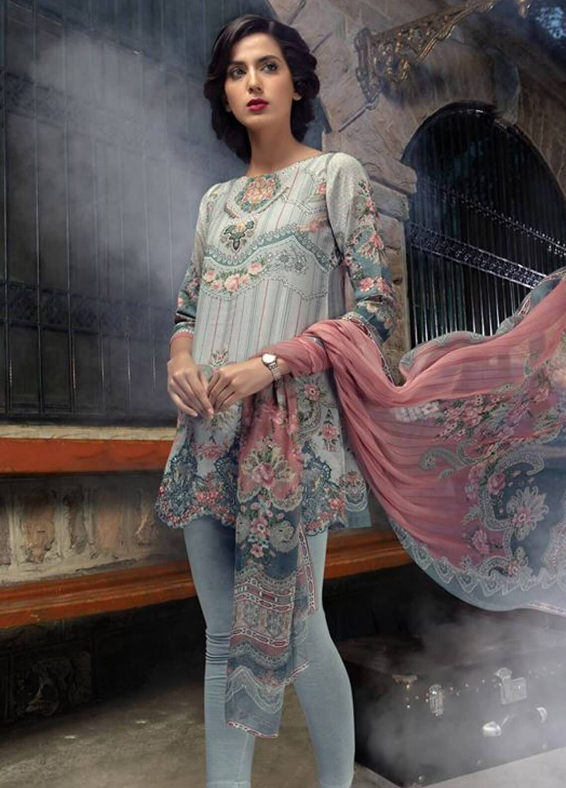 Maria B Embroidered Karandi Unstitched 3 Piece Suit MB18MP 409B - Fall Winter Collection