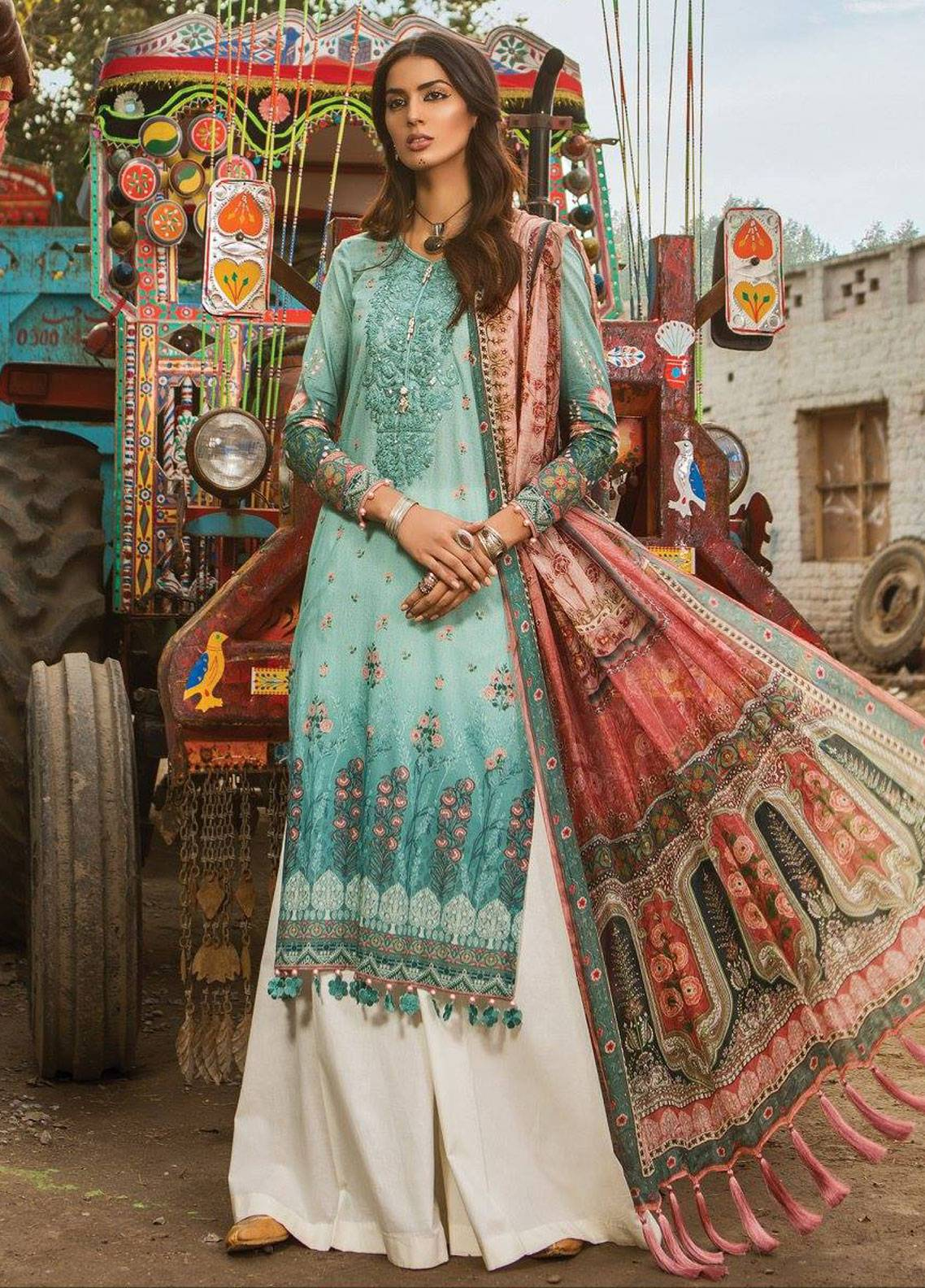 902849b798 Maria B M.Prints Embroidered Lawn Unstitched 3 Piece Suit MBP19L 1A - Spring  / Summer Collection