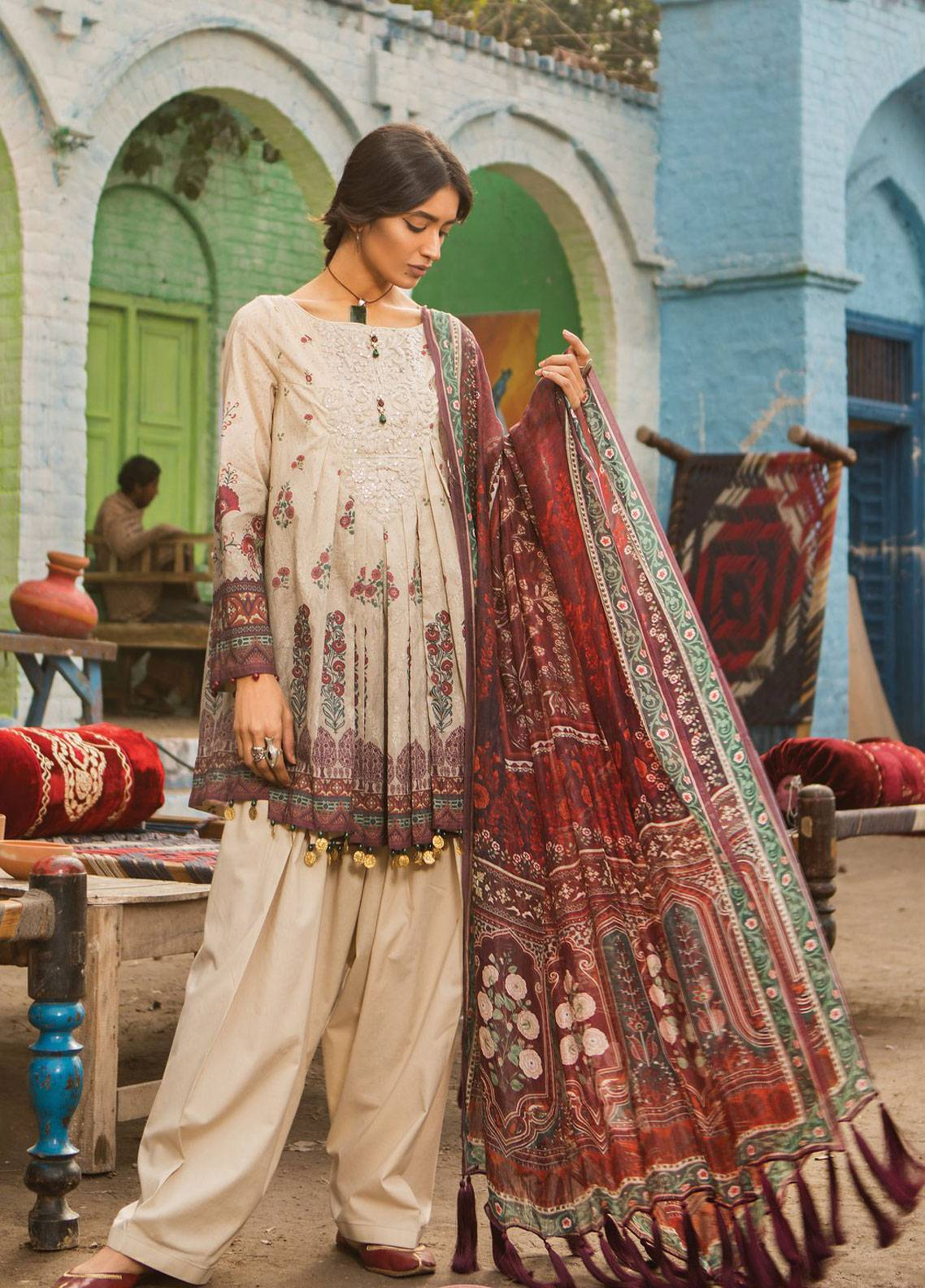 daad1dba8b Maria B M.Prints Embroidered Lawn Unstitched 3 Piece Suit MBP19L 1B -  Spring / Summer Collection
