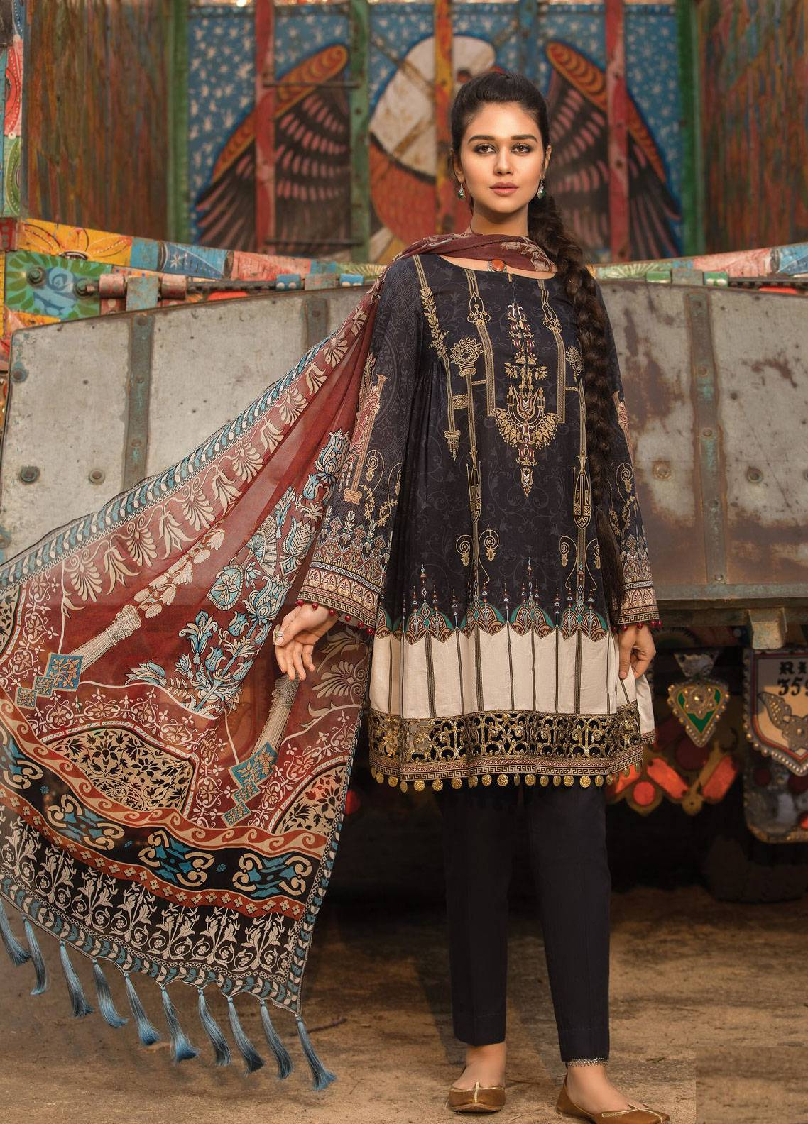 ee59fe1666 Maria B M.Prints Embroidered Lawn Unstitched 2 Piece Suit MBP19L 2B - Spring  / Summer Collection