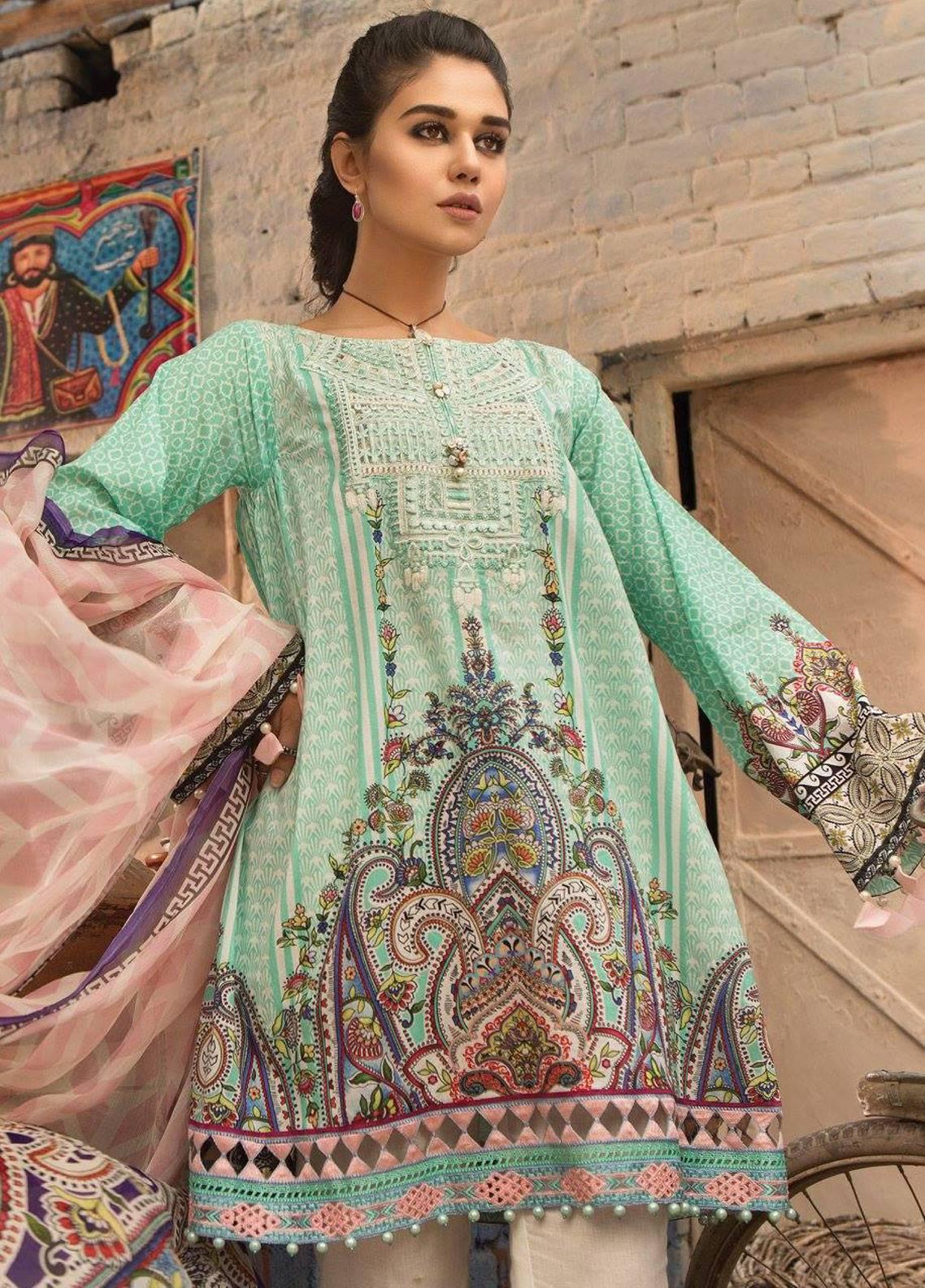 bad3983c0e Maria B M.Prints Embroidered Lawn Unstitched 2 Piece Suit MBP19L 6B - Spring  / Summer Collection
