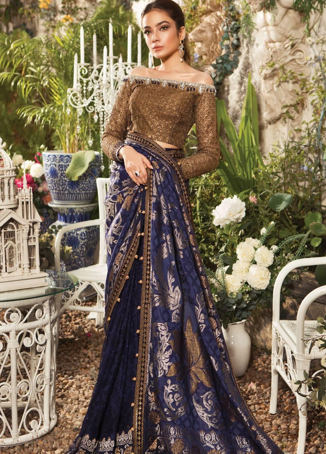 Maria B Embroidered Zari Net Unstitched Saree MB19E 1601 - Eid Collection
