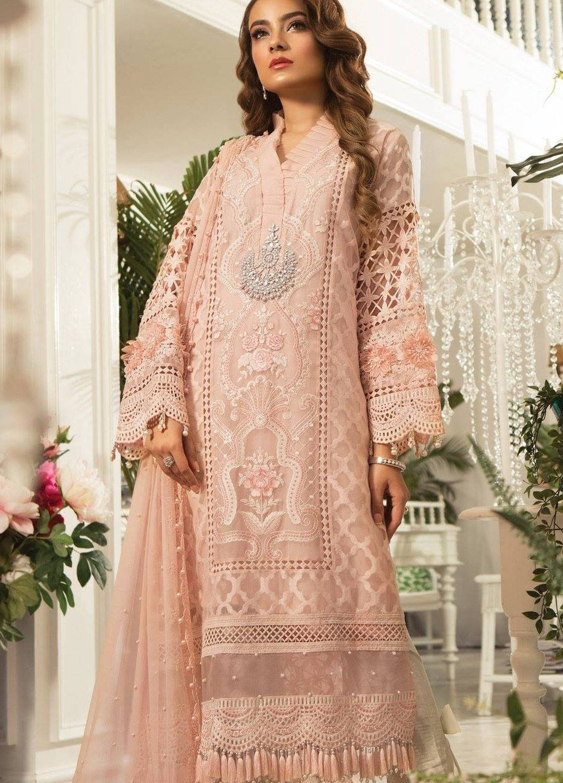 2e57e16be6 Maria B Embroidered Organza Unstitched 3 Piece Suit MB19E 1602 - Eid  Collection