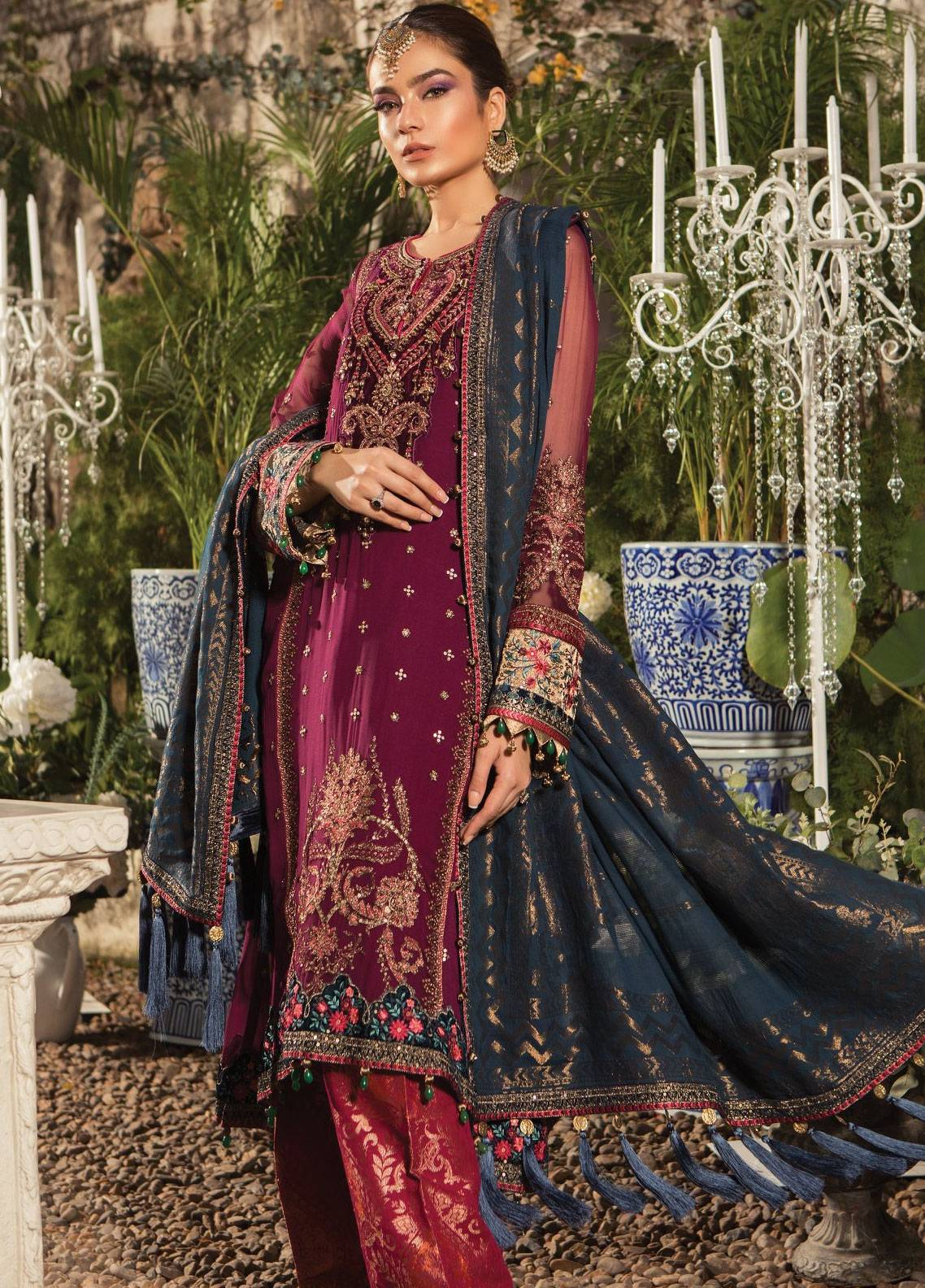 7b2659a39a Maria B Embroidered Chiffon Unstitched 3 Piece Suit MB19E 1605 - Eid  Collection