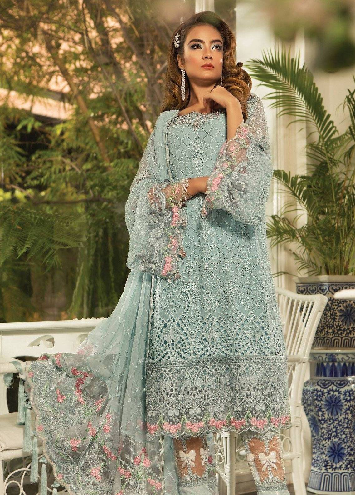 5e86062f81 Maria B Embroidered Chiffon Unstitched 3 Piece Suit MB19E 1607 - Eid  Collection