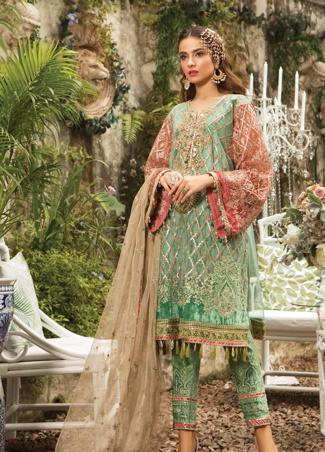 198d2c7e82 Maria B Embroidered Zari Net Unstitched 3 Piece Suit MB19E 1608 - Eid  Collection