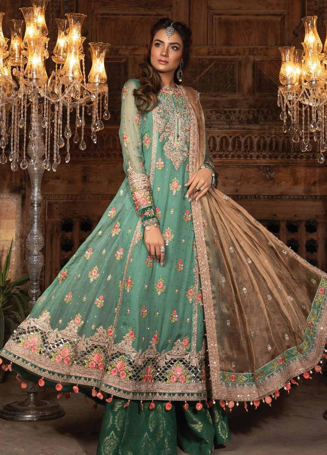 Maria B Embroidered Chiffon Unstitched 3 Piece Suit MB19HE 1701 - Eid Collection