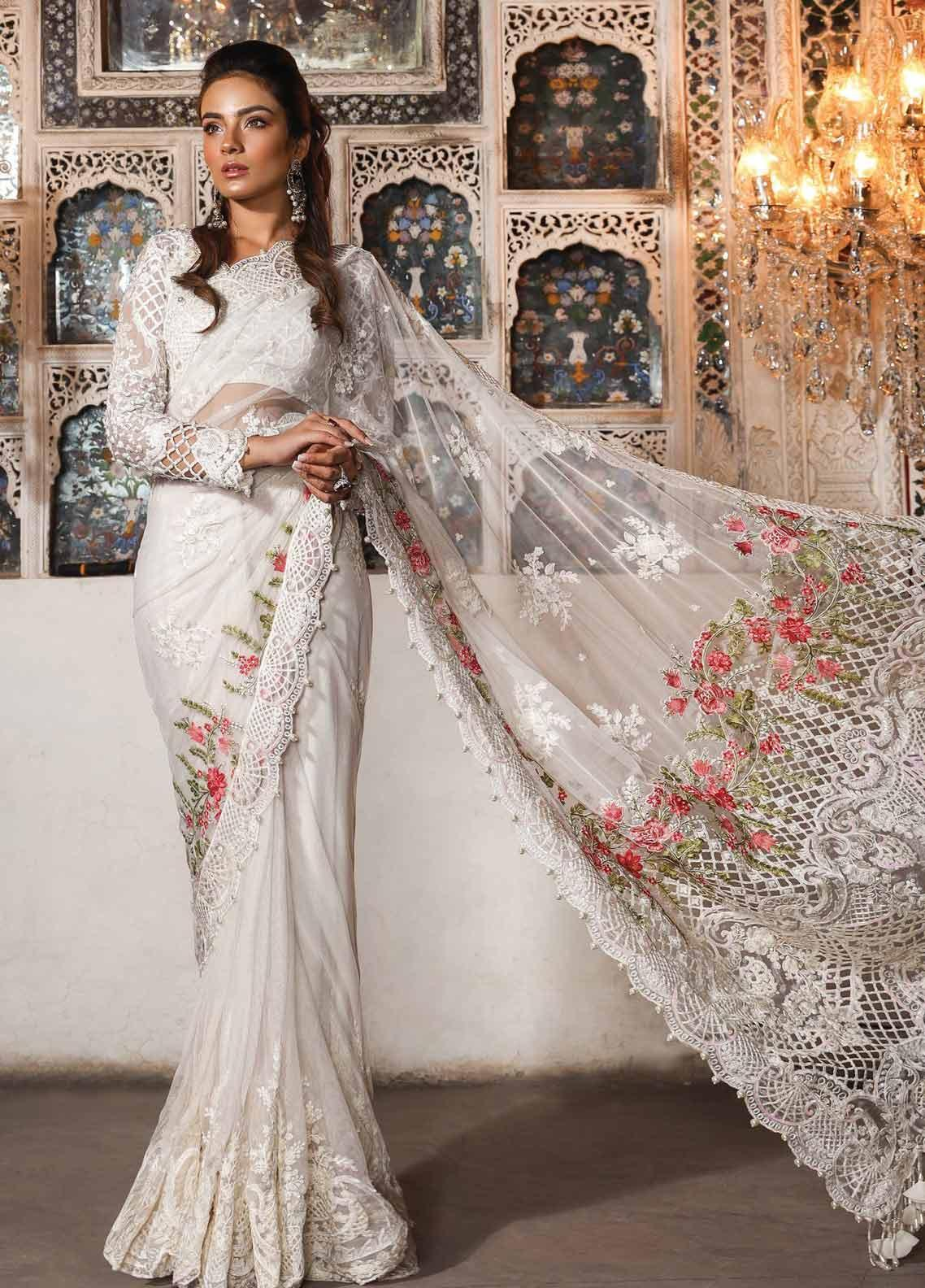Maria B Embroidered Chiffon Unstitched Saree MB19HE 1703 - Eid Collection