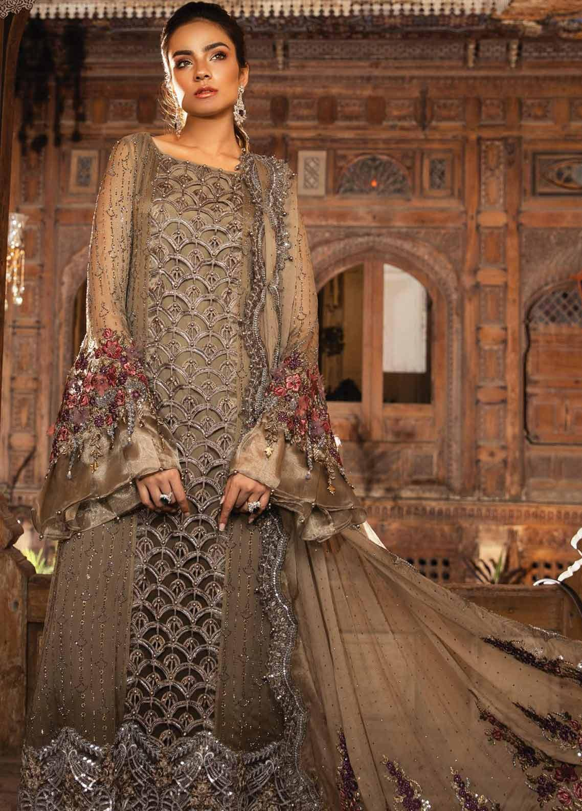 Maria B Embroidered Organza Unstitched 3 Piece Suit MB19HE 1704 - Eid Collection
