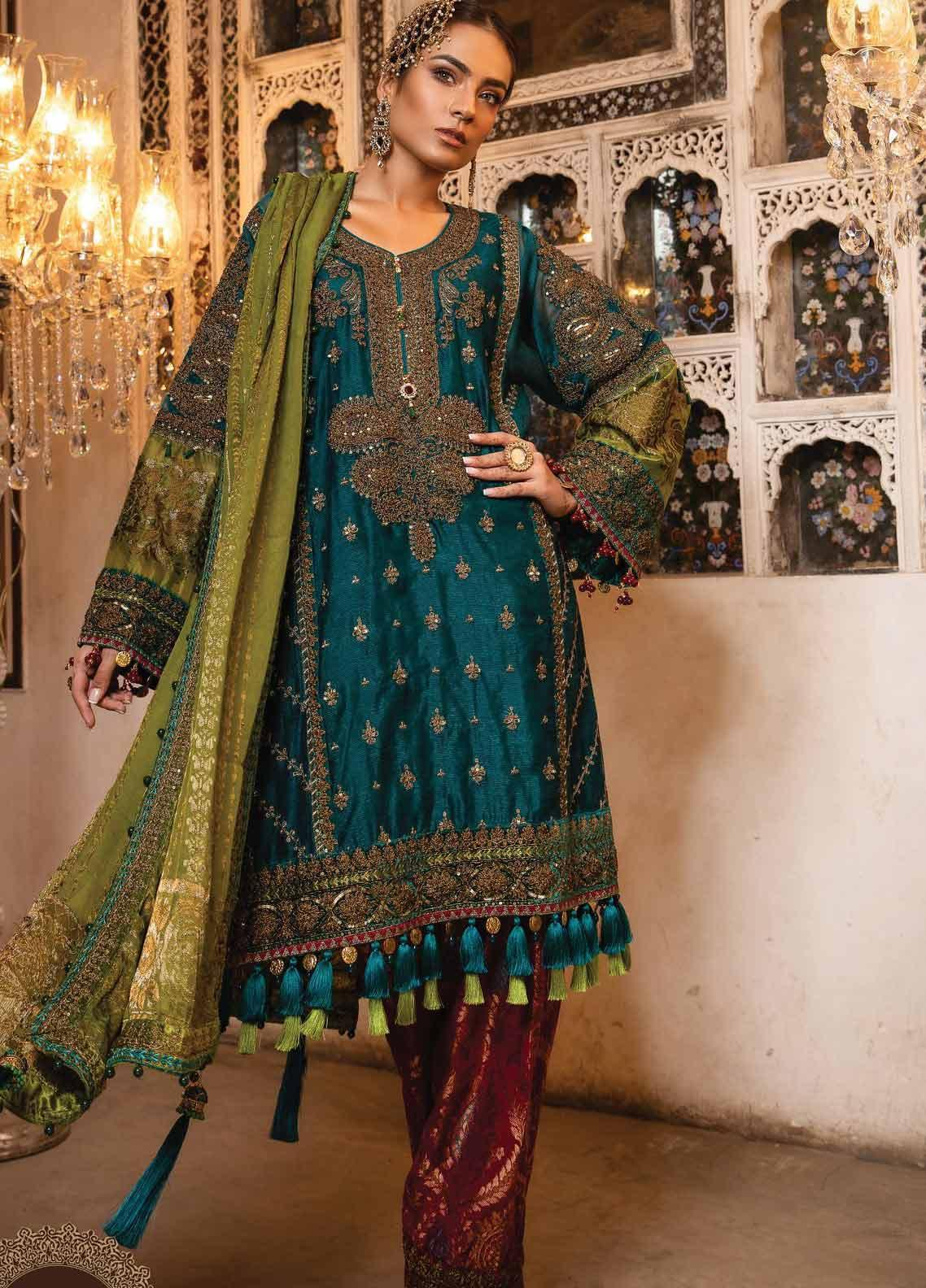 Maria B Embroidered Cotton Net Unstitched 3 Piece Suit MB19HE 1706 - Eid Collection