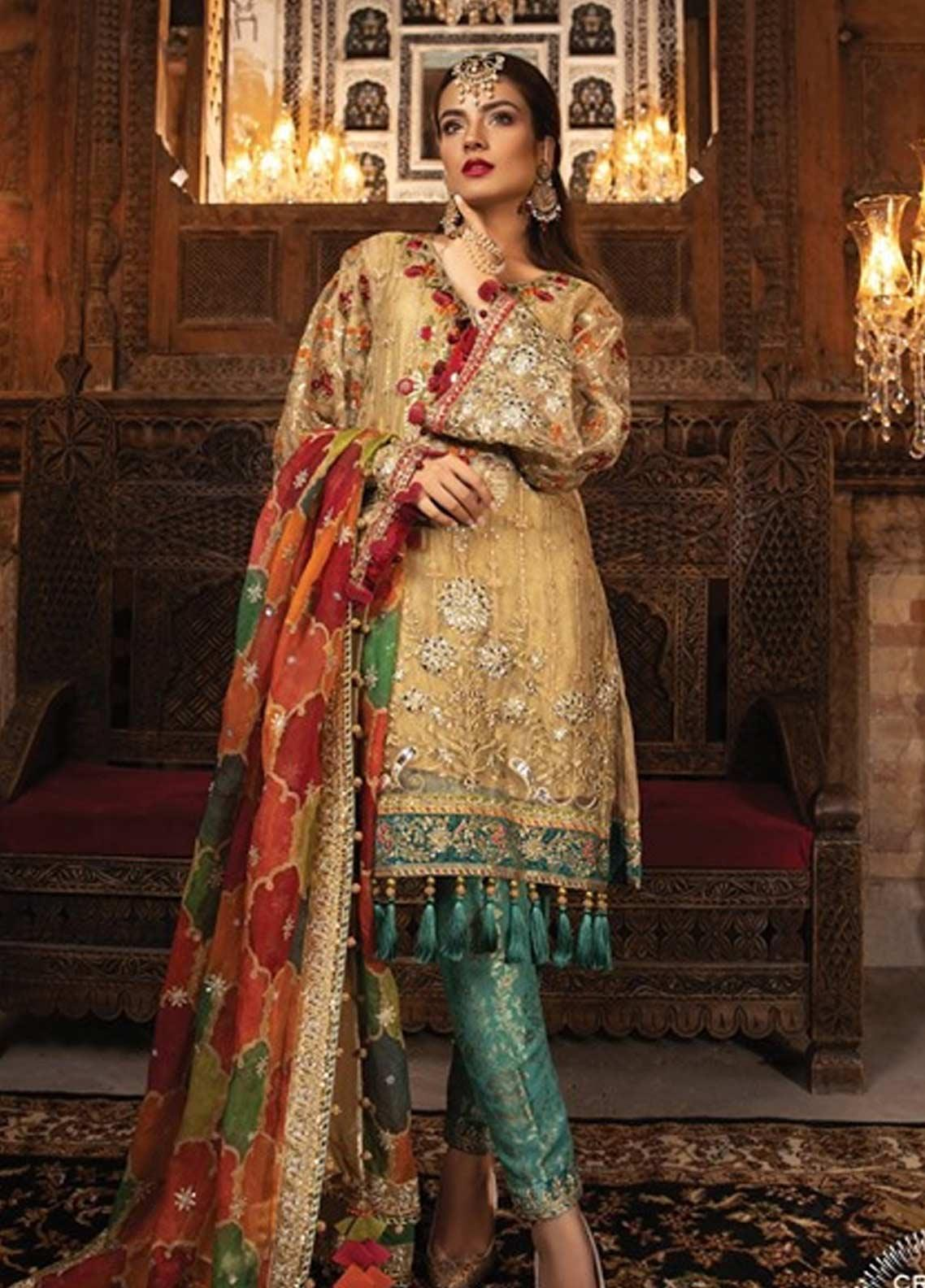 Maria B Embroidered Zari Net Unstitched 3 Piece Suit MB19HE 1707 - Eid Collection