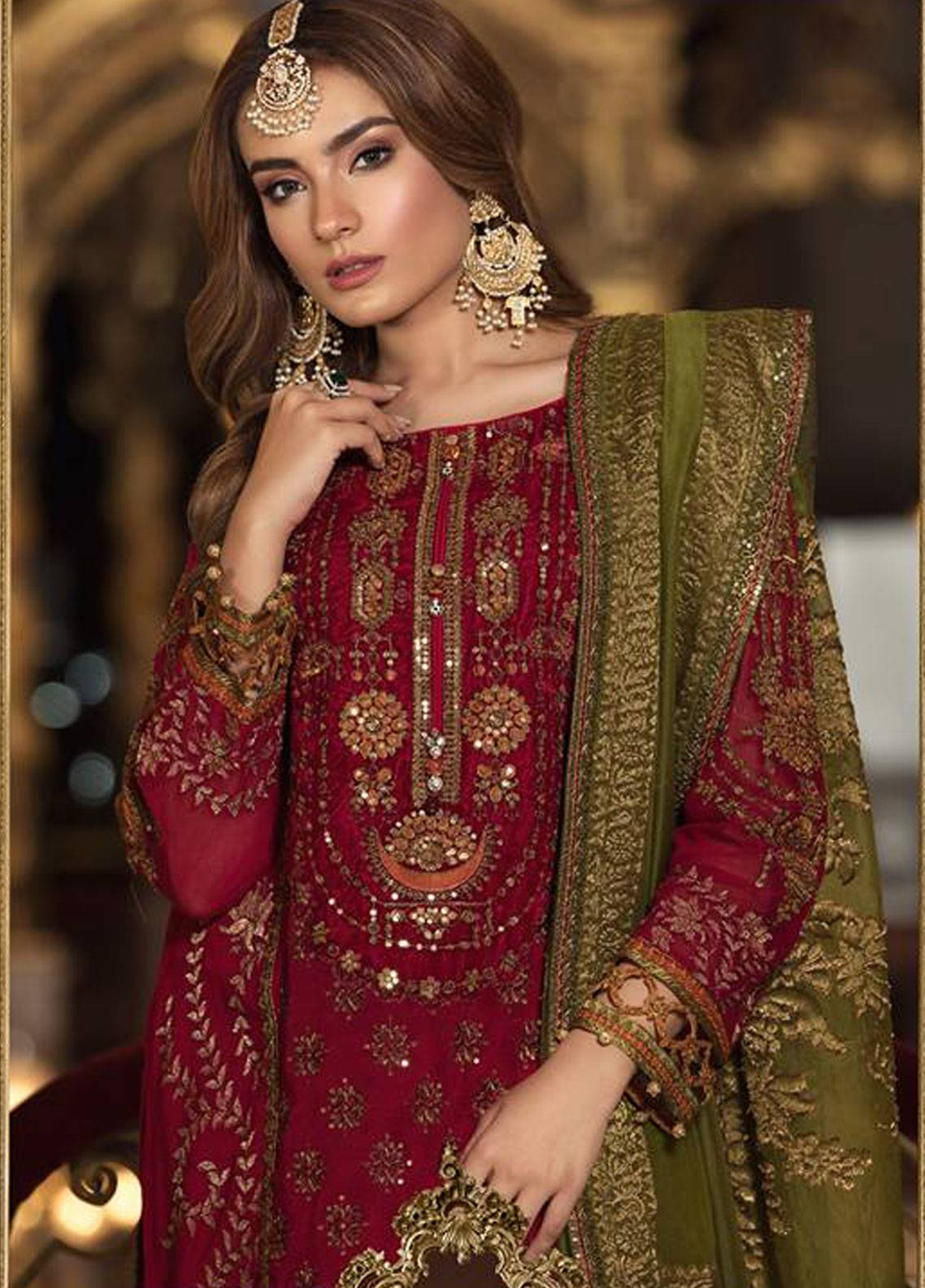 18d21b9164 Maria B Embroidered Cotton Net Unstitched 3 Piece Suit MB18-W1 09 - Wedding  Collection