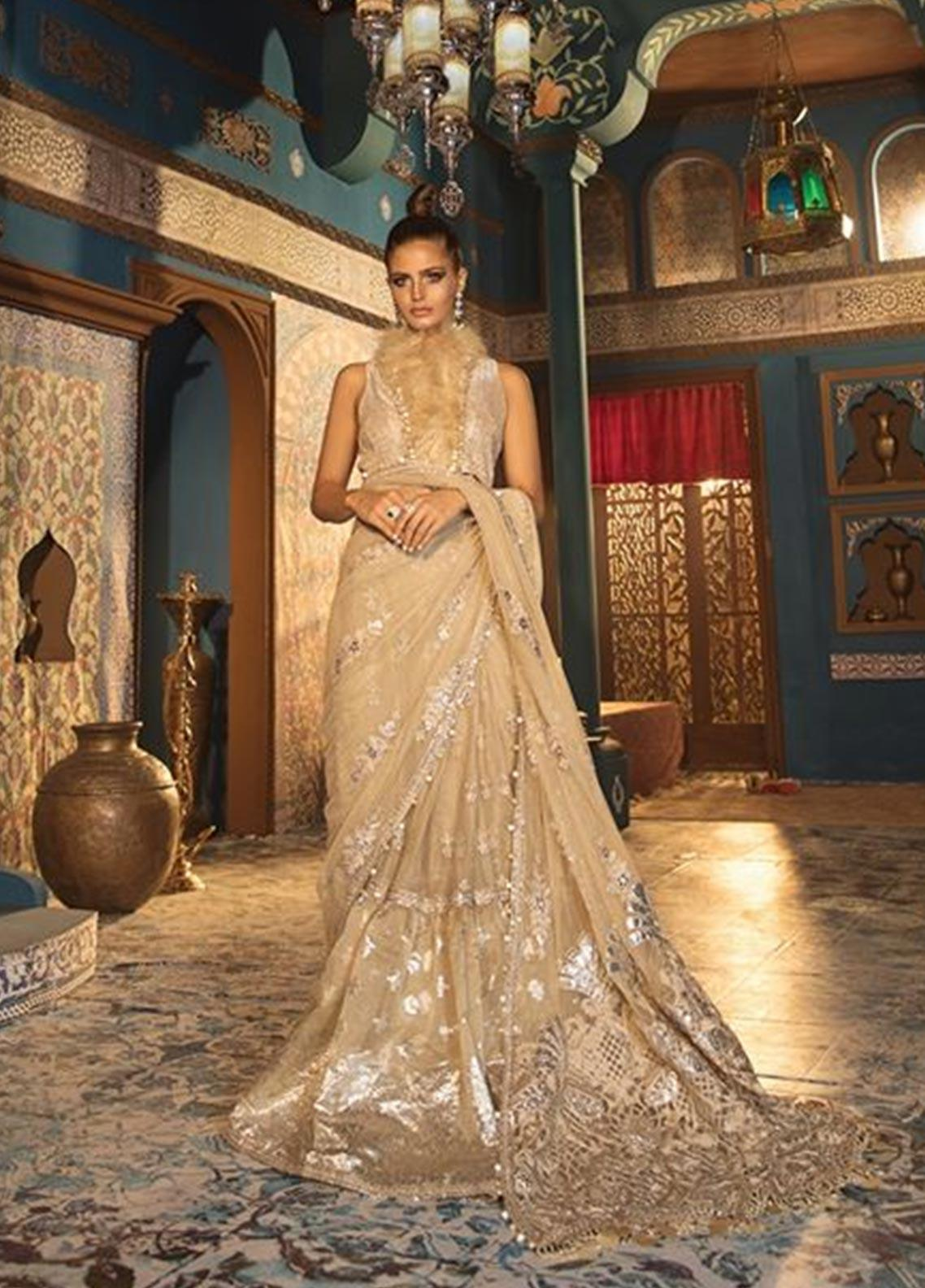 Maria B Embroidered Net Unstitched Saree MB19WE 1808 - Wedding Collection