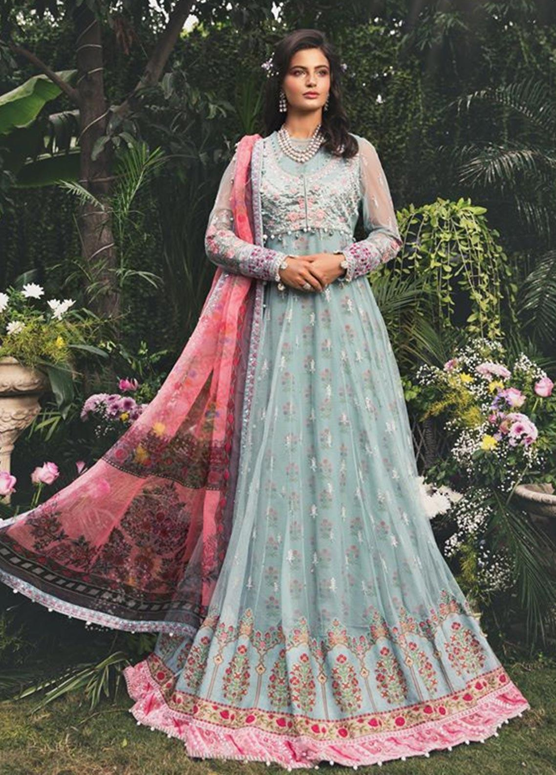 Maria B Embroidered Cotton Satin Unstitched 3 Piece Suit MB20W 201 Azure - Winter Collection