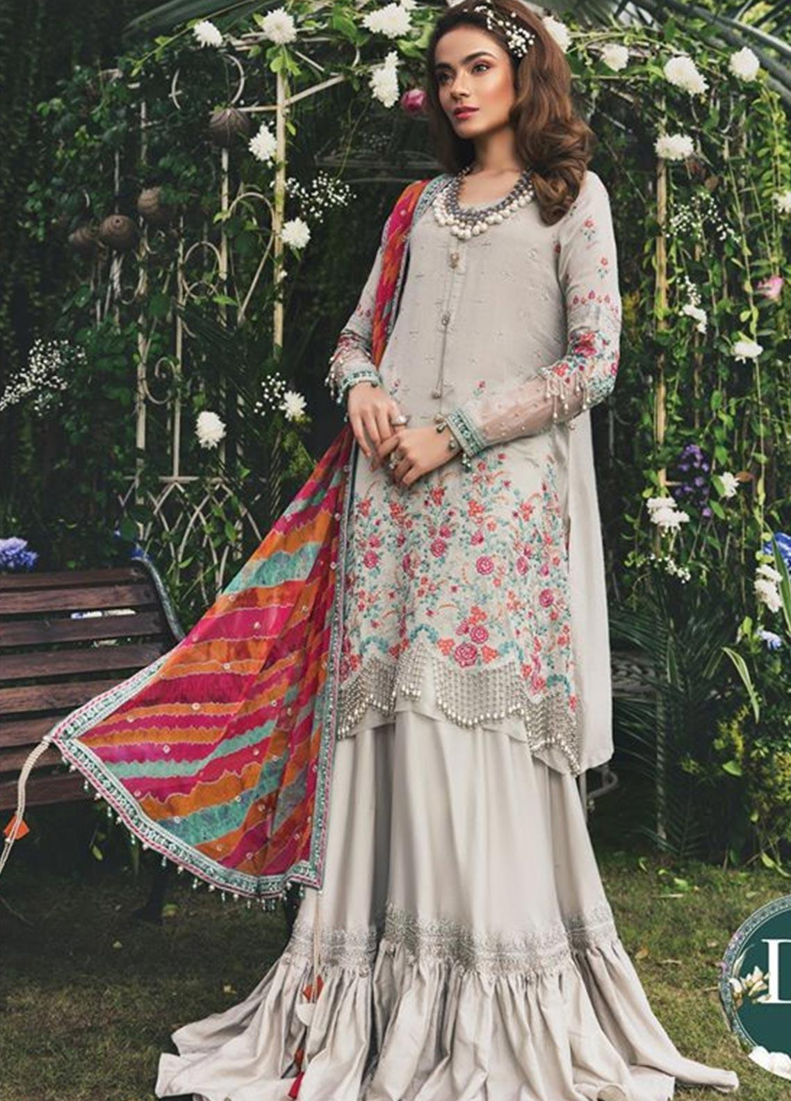 Maria B Embroidered Cotton Net Unstitched 3 Piece Suit MB20W 204 Ivory - Winter Collection