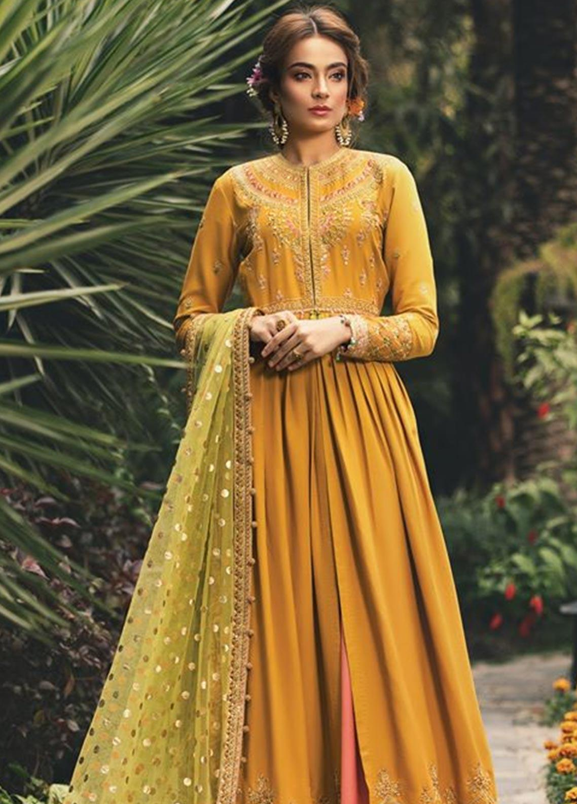 Maria B Embroidered Cotton Satin Unstitched 3 Piece Suit MB20W 206 Marigold - Winter Collection
