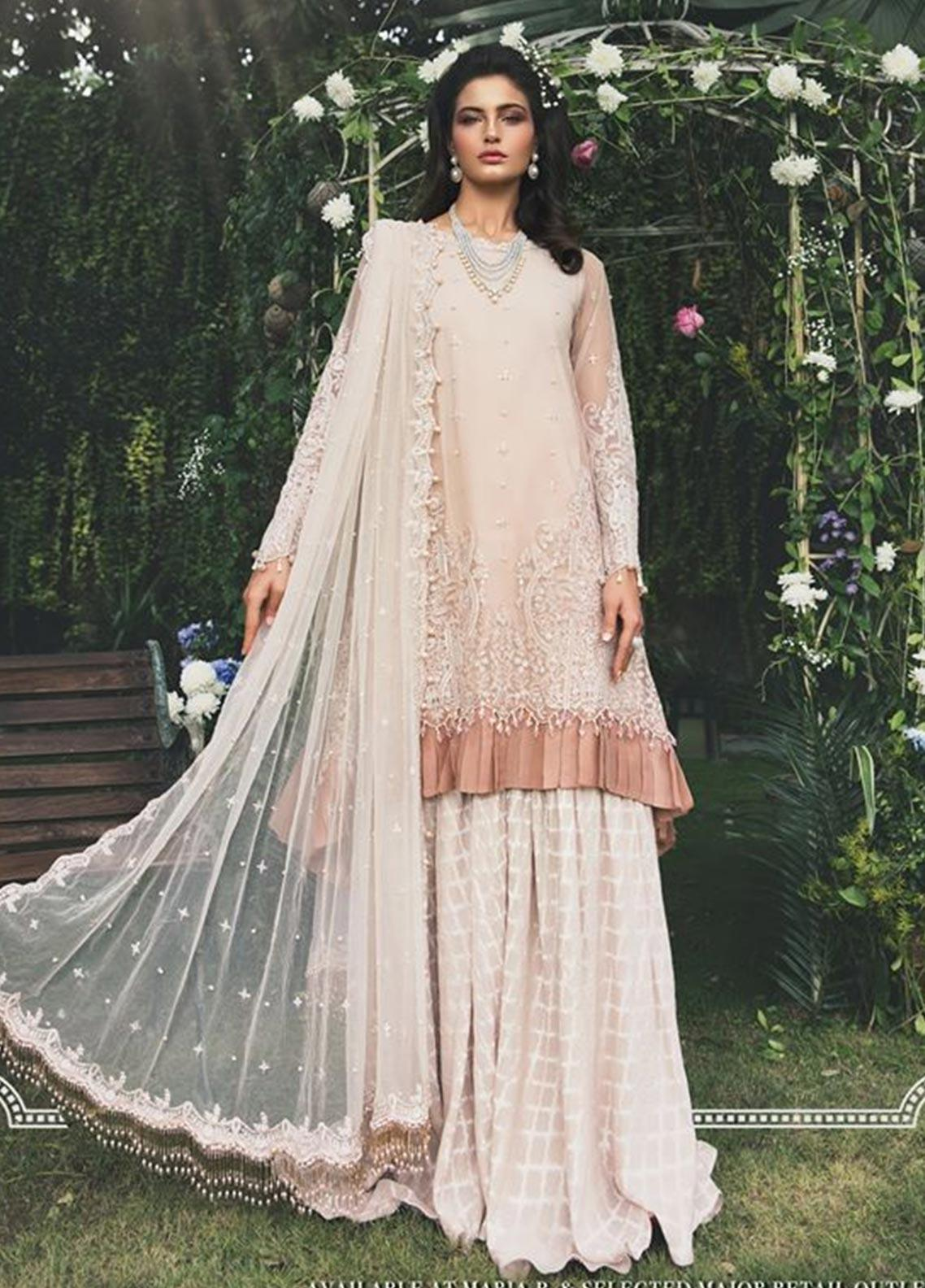 Maria B Embroidered Net Unstitched 3 Piece Suit MB20W 207 Peaches - Winter Collection