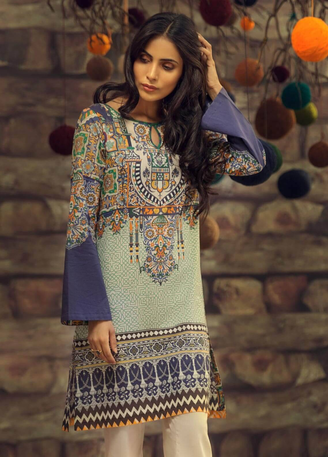 LimeLight Printed Cambric Unstitched Kurties MARREKESH FAME (BLUE) - Cambric Collection