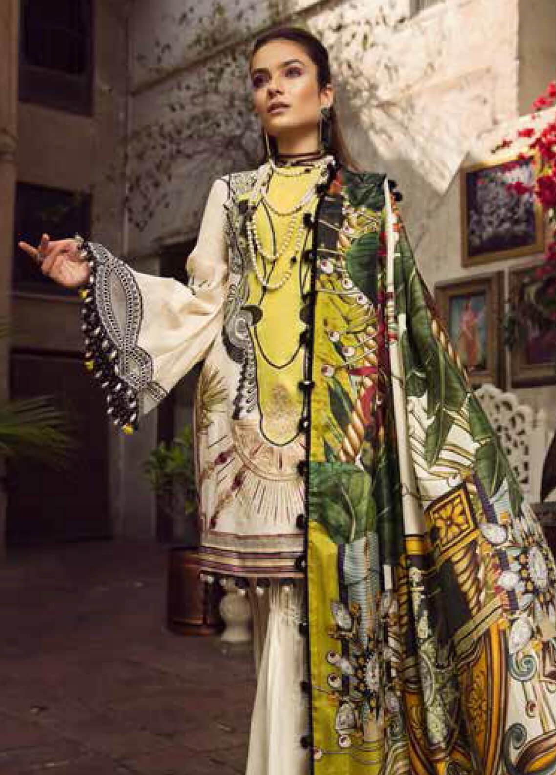 Maryam Hussain Embroidered Lawn Unstitched 3 Piece Suit MRH19F 01 PARISA - Festive Collection