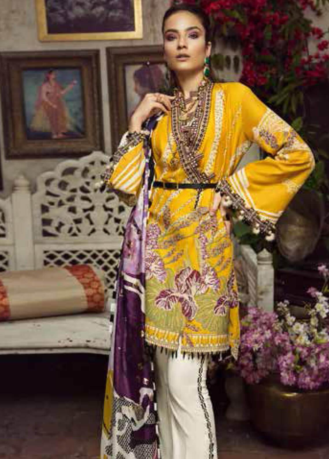 Maryam Hussain Embroidered Lawn Unstitched 3 Piece Suit MRH19F 04 SOFIA - Festive Collection