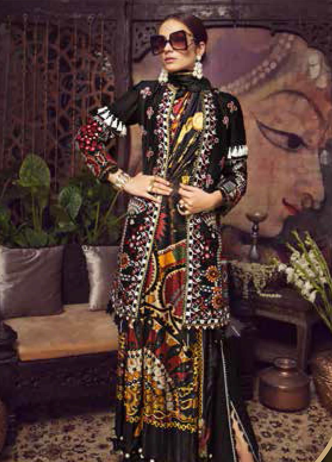 Maryam Hussain Embroidered Lawn Unstitched 3 Piece Suit MRH19F 05 MIDNIGHT - Festive Collection