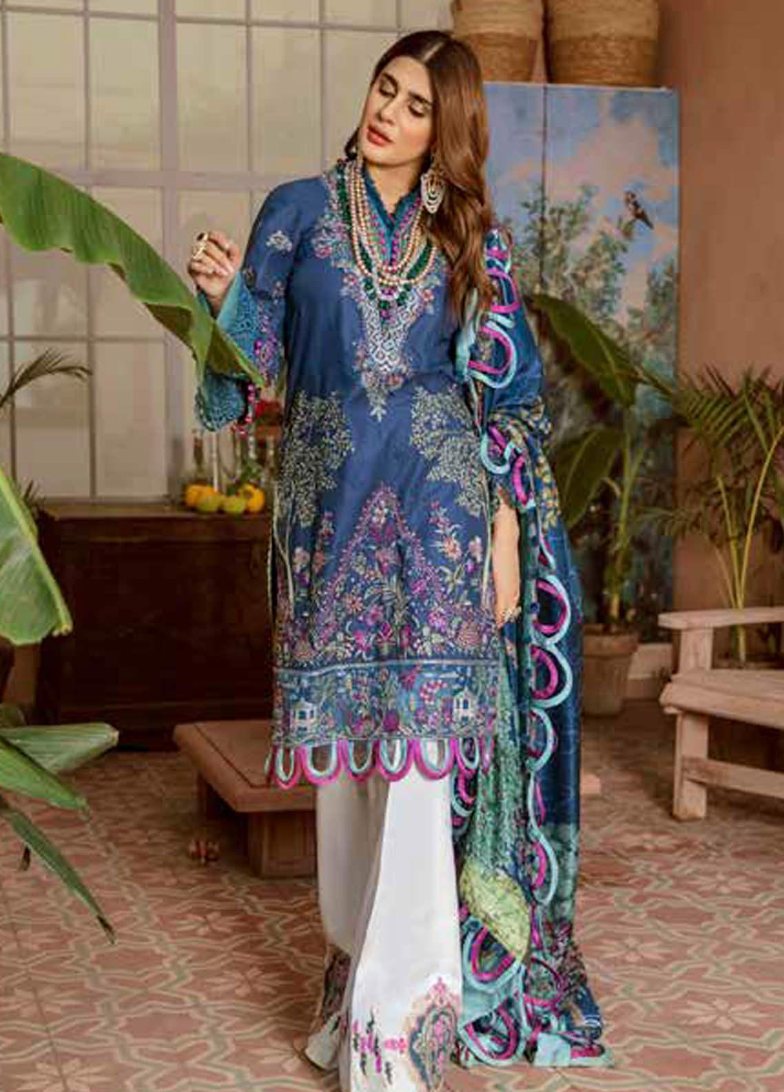 Maryam Hussain Embroidered Lawn Unstitched 3 Piece Suit MRH20F D-01 FALAK - Festive Collection
