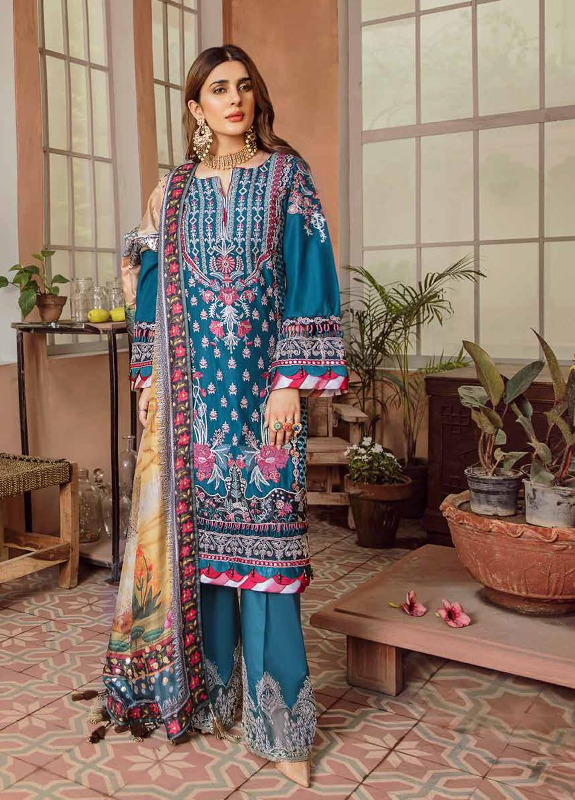Maryam Hussain Embroidered Lawn Unstitched 3 Piece Suit MRH20F D-07 SEHAR - Festive Collection