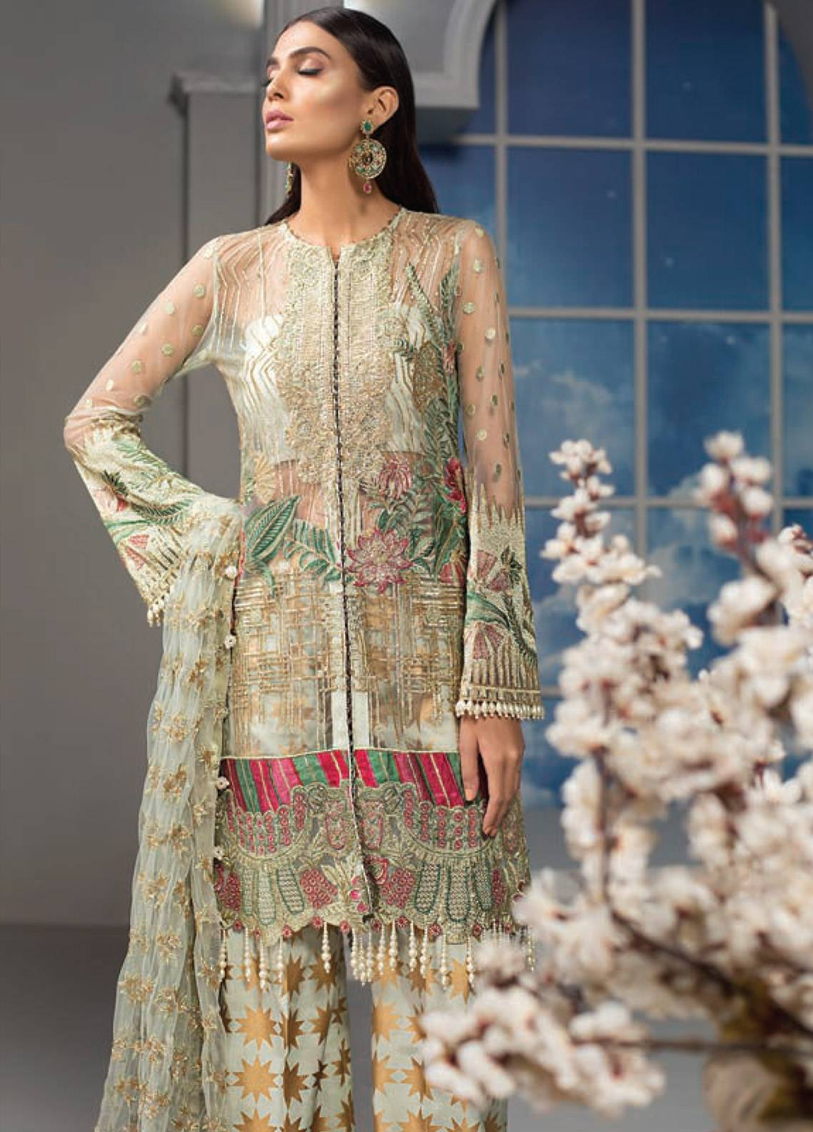 Maryam Hussain Embroidered Chiffon Unstitched 3 Piece Suit MRH19C 06 MAHARANI - Luxury Collection