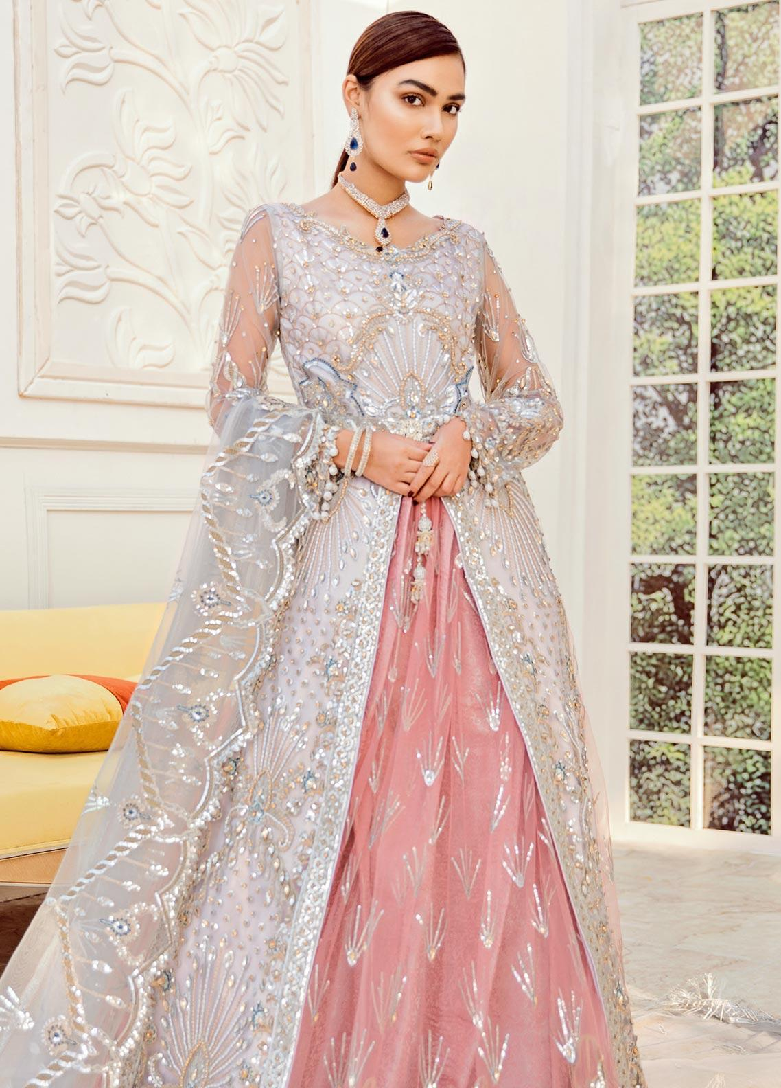 Maryum N Maria Embroidered Net Unstitched 2 Piece Suit MNM20B 04 Rosebud - Bridal Collection