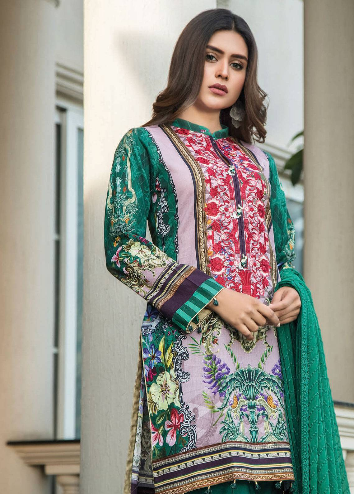 39456794ca Maya by Noor Textile Embroidered Lawn Unstitched 3 Piece Suit MYN19L 04 -  Spring / Summer Collection