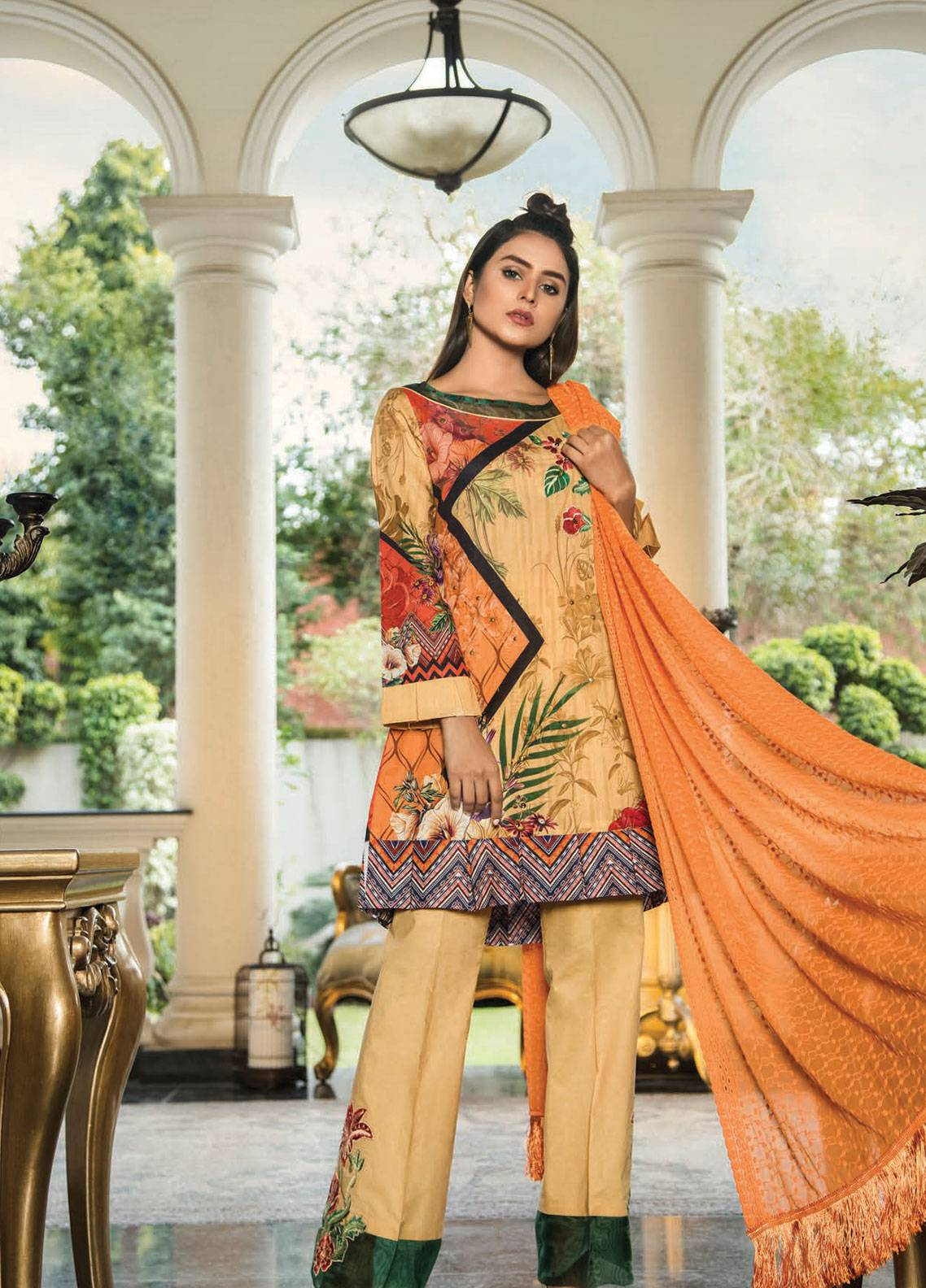 Maya by Noor Textile Embroidered Lawn Unstitched 3 Piece Suit MYN19L 09 - Spring / Summer Collection
