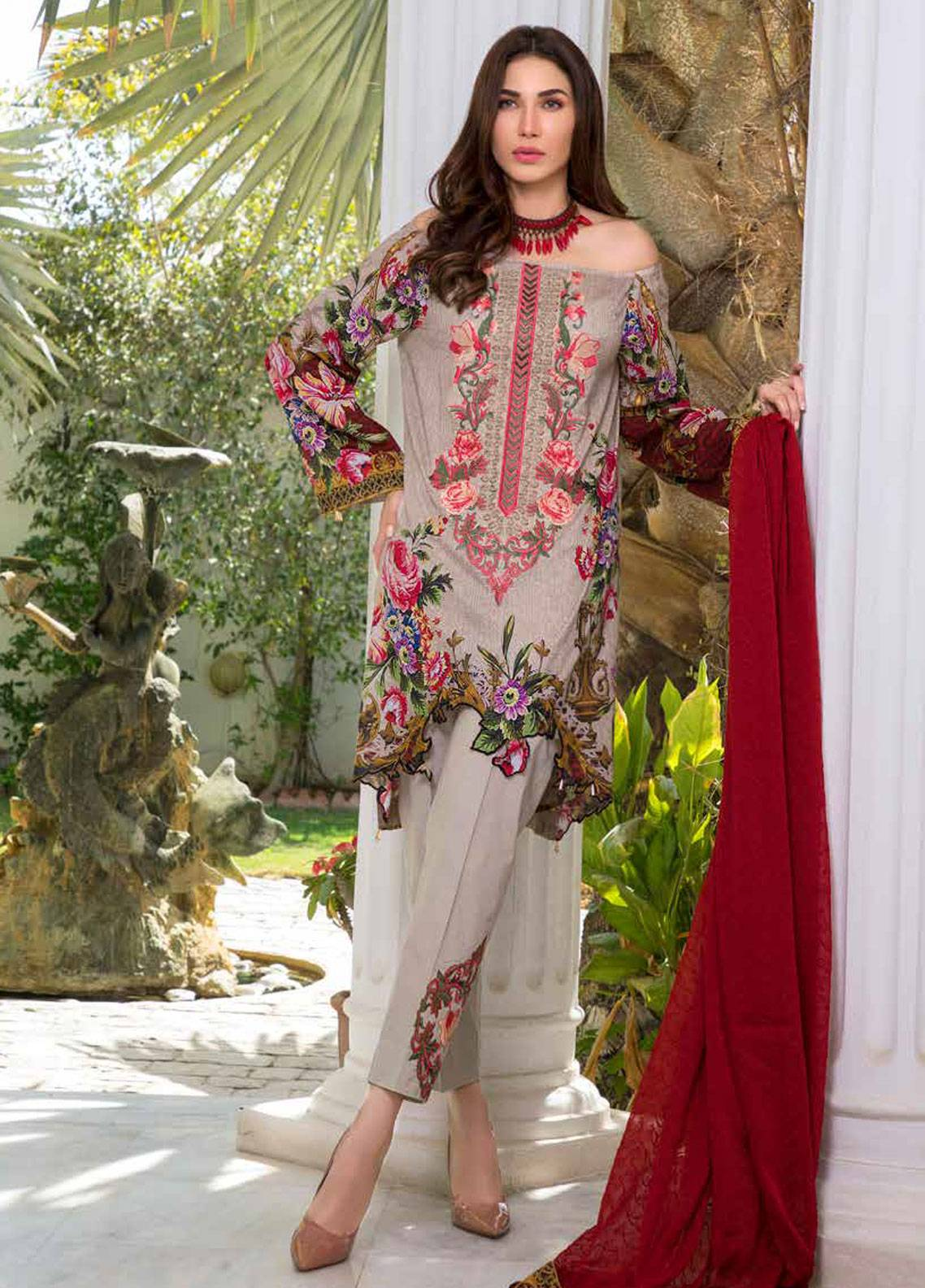 1bfa7f23fd Maya by Noor Textiles Embroidered Lawn Unstitched 3 Piece Suit MYN19-L2 02  - Spring / Summer Collection