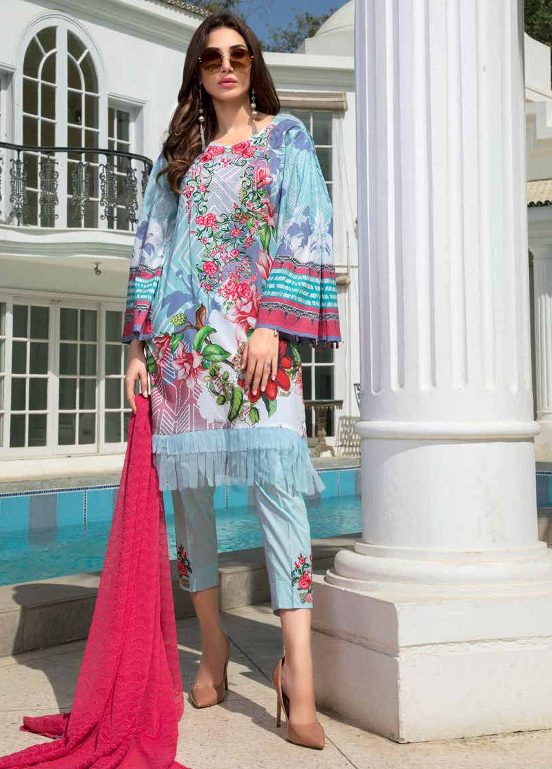 Maya by Noor Textiles Embroidered Lawn Unstitched 3 Piece Suit MYN19-L2 03 - Spring / Summer Collection