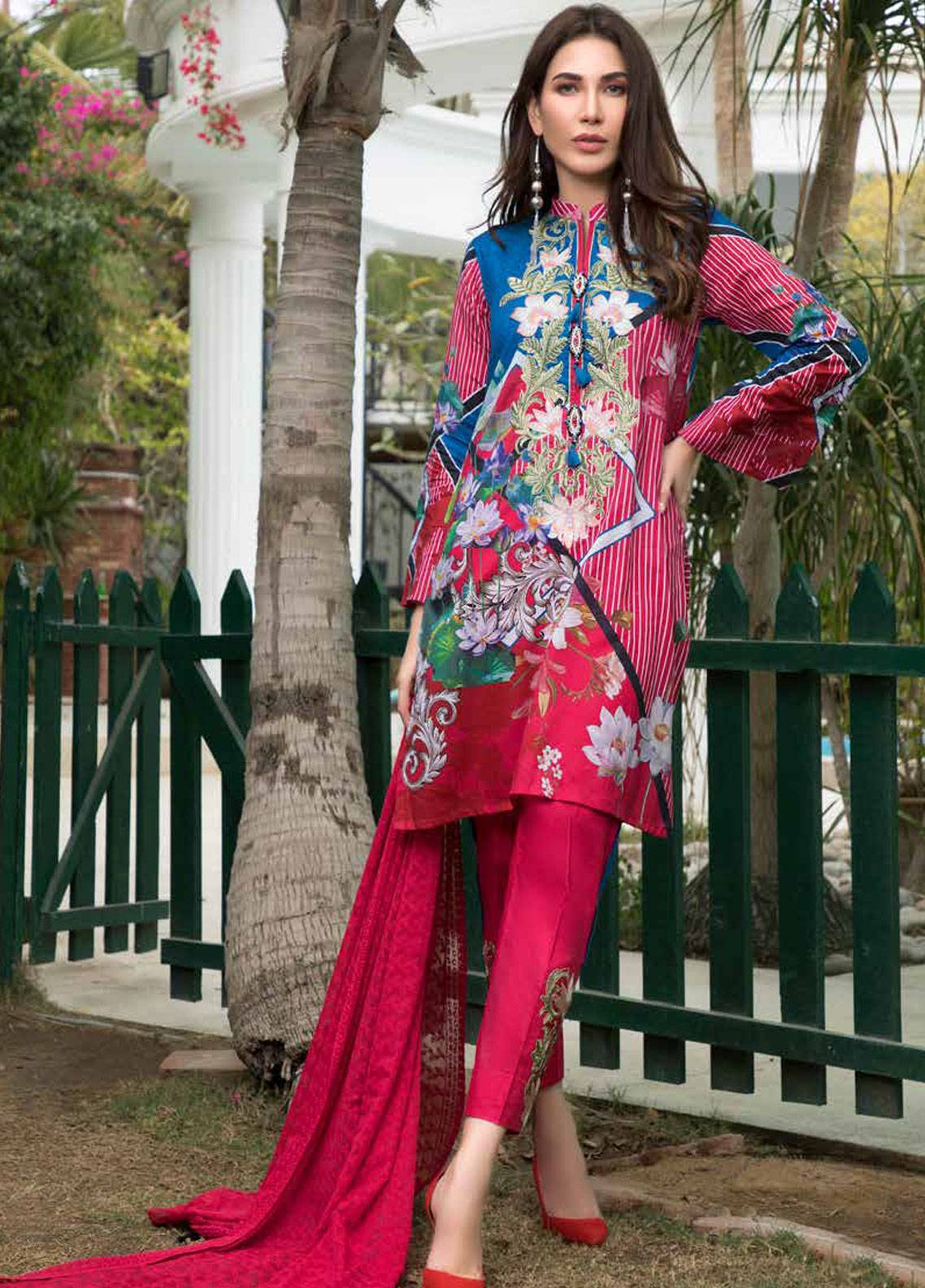 e202612f24 Maya by Noor Textiles Embroidered Lawn Unstitched 3 Piece Suit MYN19-L2 05  - Spring / Summer Collection