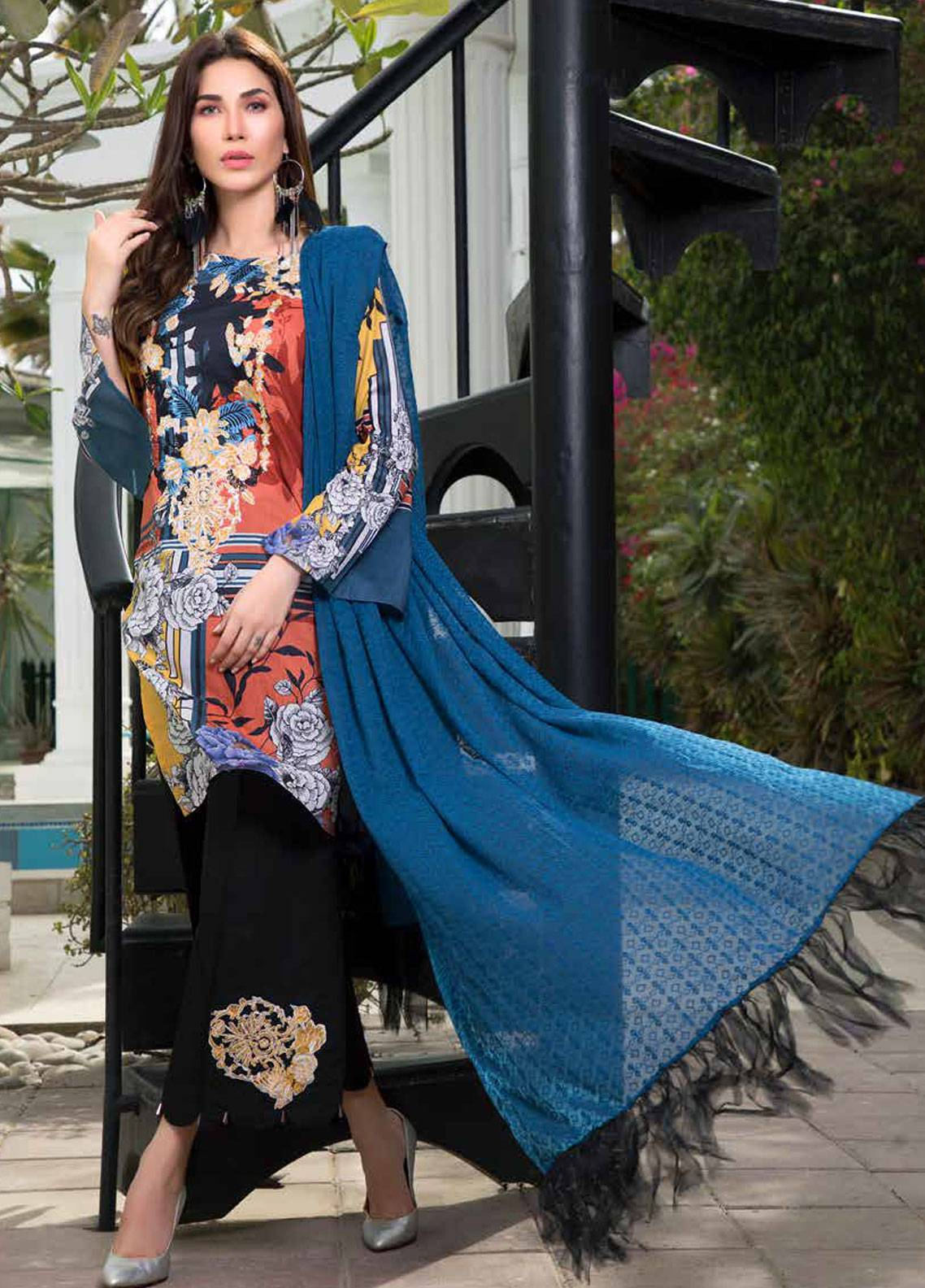 Maya by Noor Textiles Embroidered Lawn Unstitched 3 Piece Suit MYN19-L2 06 - Spring / Summer Collection