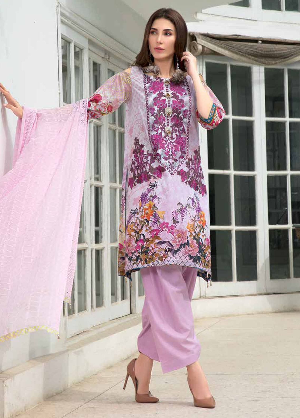 Maya by Noor Textiles Embroidered Lawn Unstitched 3 Piece Suit MYN19-L2 07 - Spring / Summer Collection