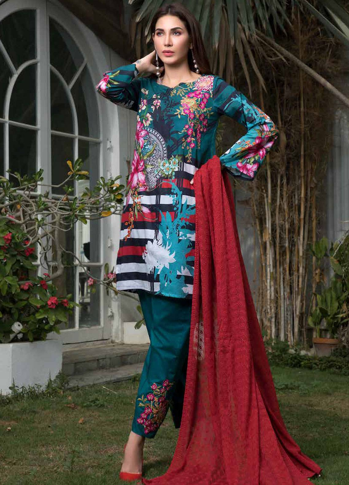 Maya by Noor Textiles Embroidered Lawn Unstitched 3 Piece Suit MYN19-L2 09 - Spring / Summer Collection