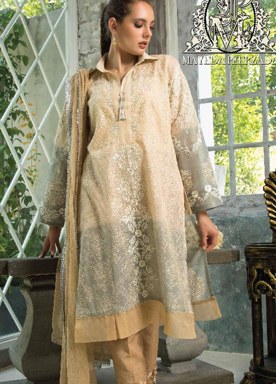Mayeda Peerzada Embroidered Chikankari Unstitched 3 Piece Suit MDP19CK 05 - Luxury Collection