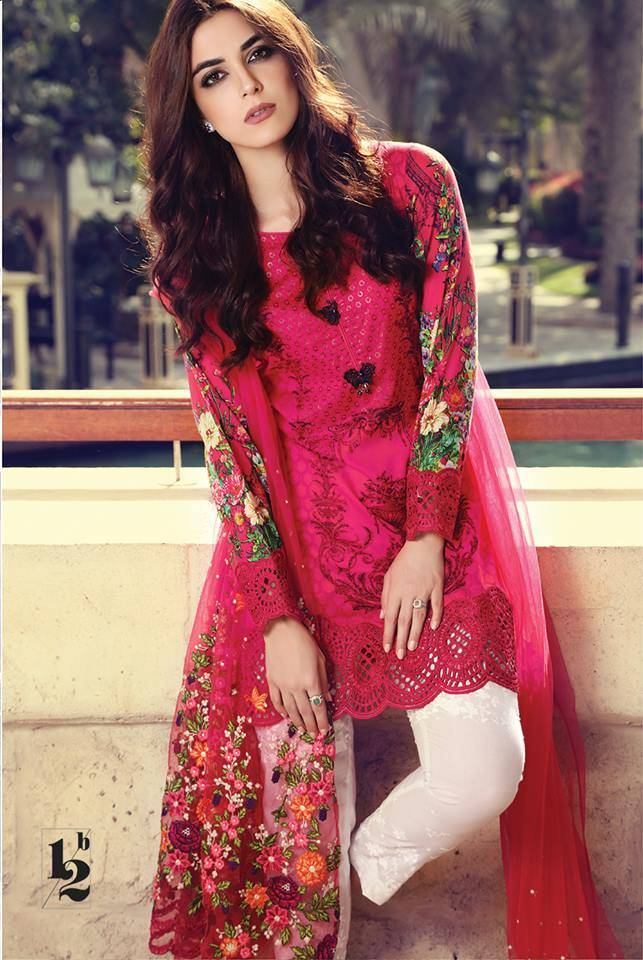 Maria B Embroidered Lawn Unstitched 3 Piece Suit MB17L 12B