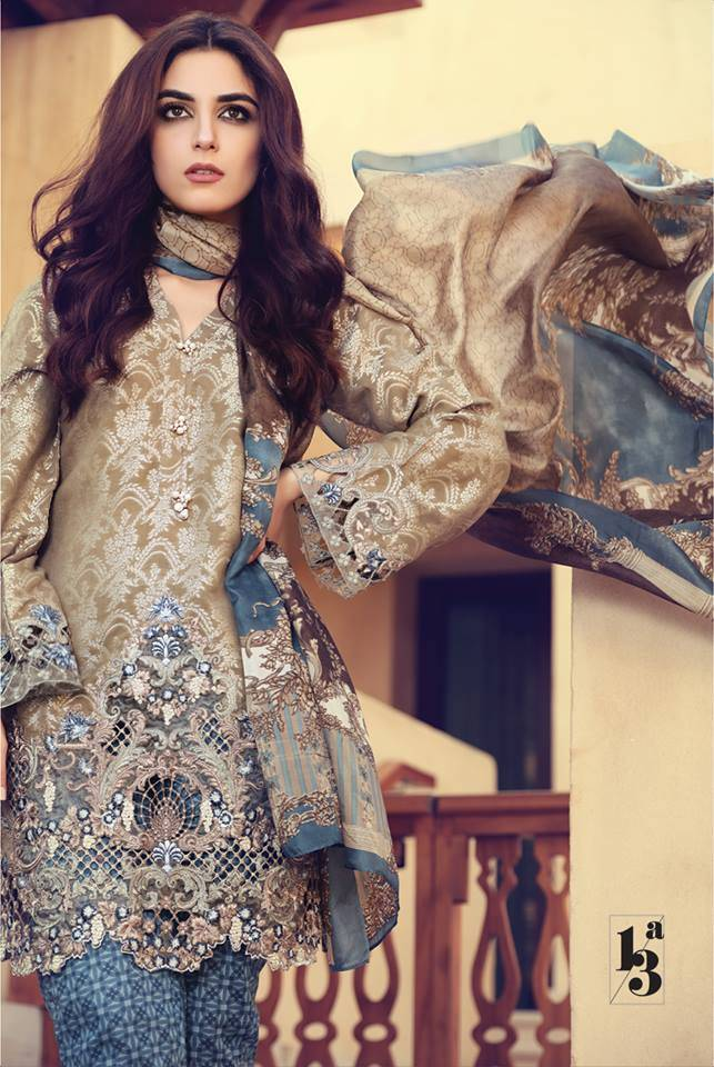 Maria B Embroidered Lawn Unstitched 3 Piece Suit MB17L 13A