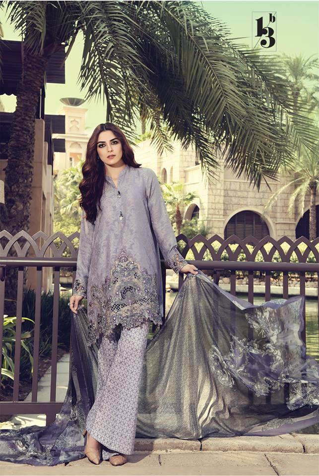 Maria B Embroidered Lawn Unstitched 3 Piece Suit MB17L 13B