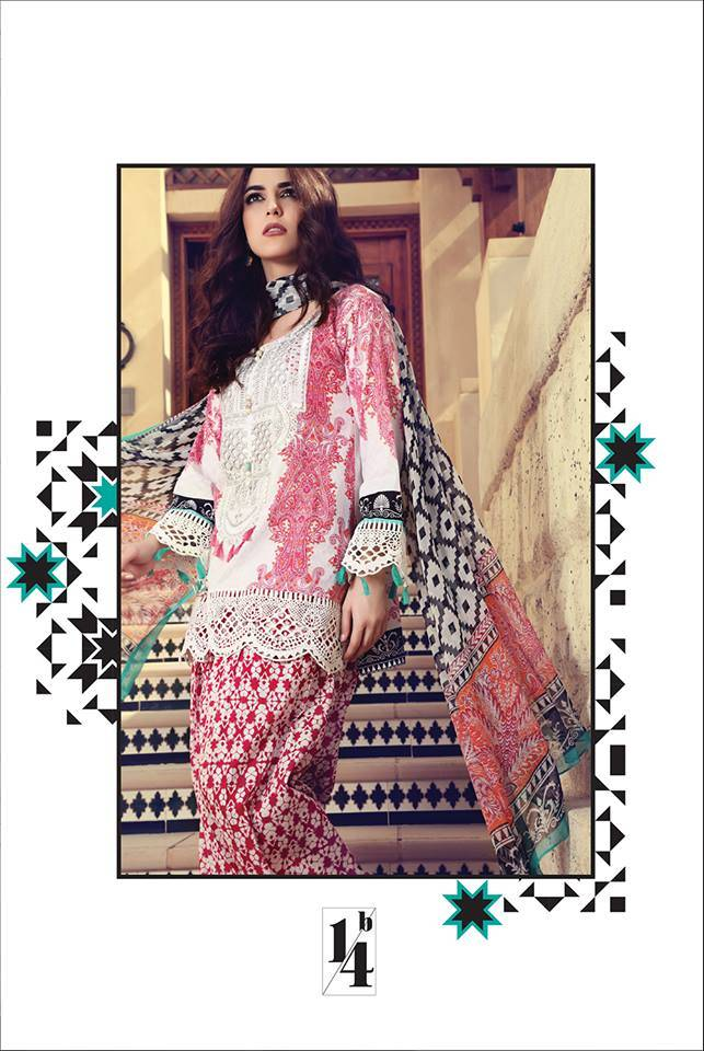 Maria B Embroidered Lawn Unstitched 3 Piece Suit MB17L 14B