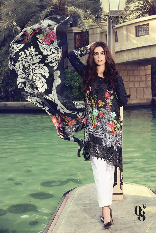 Maria B Embroidered Lawn Unstitched 3 Piece Suit MB17L 8B