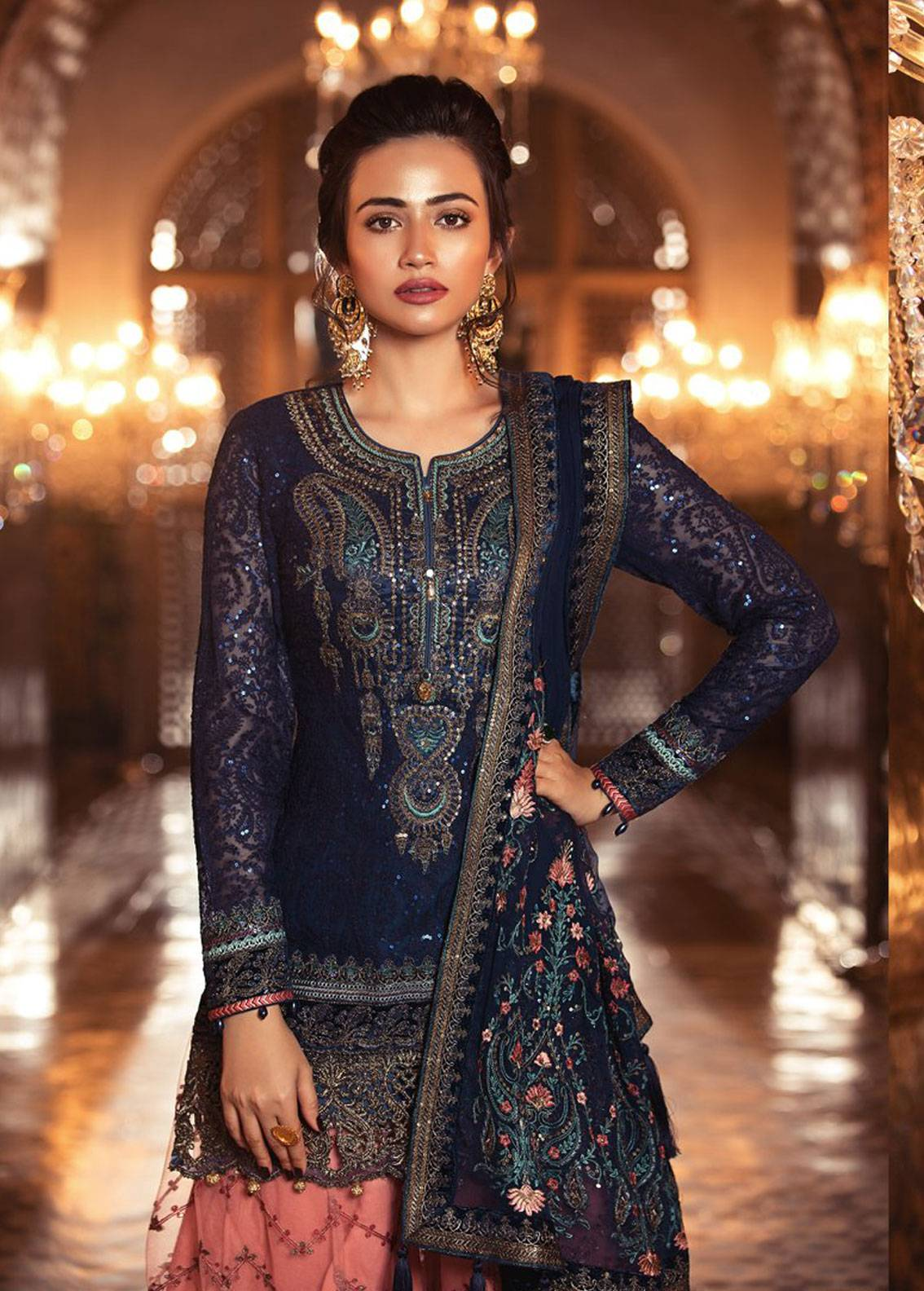 81c094ae39 Maria B Embroidered Chiffon Unstitched 3 Piece Suit MB18E 08 - Eid  Collection