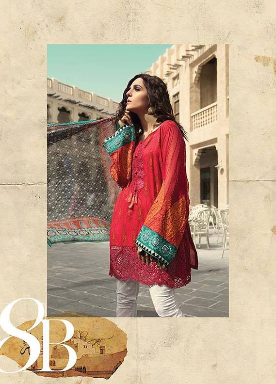 9b9a802a60 Maria B Embroidered Lawn Unstitched 3 Piece Suit MB18L 8B - Spring / Summer  Collection